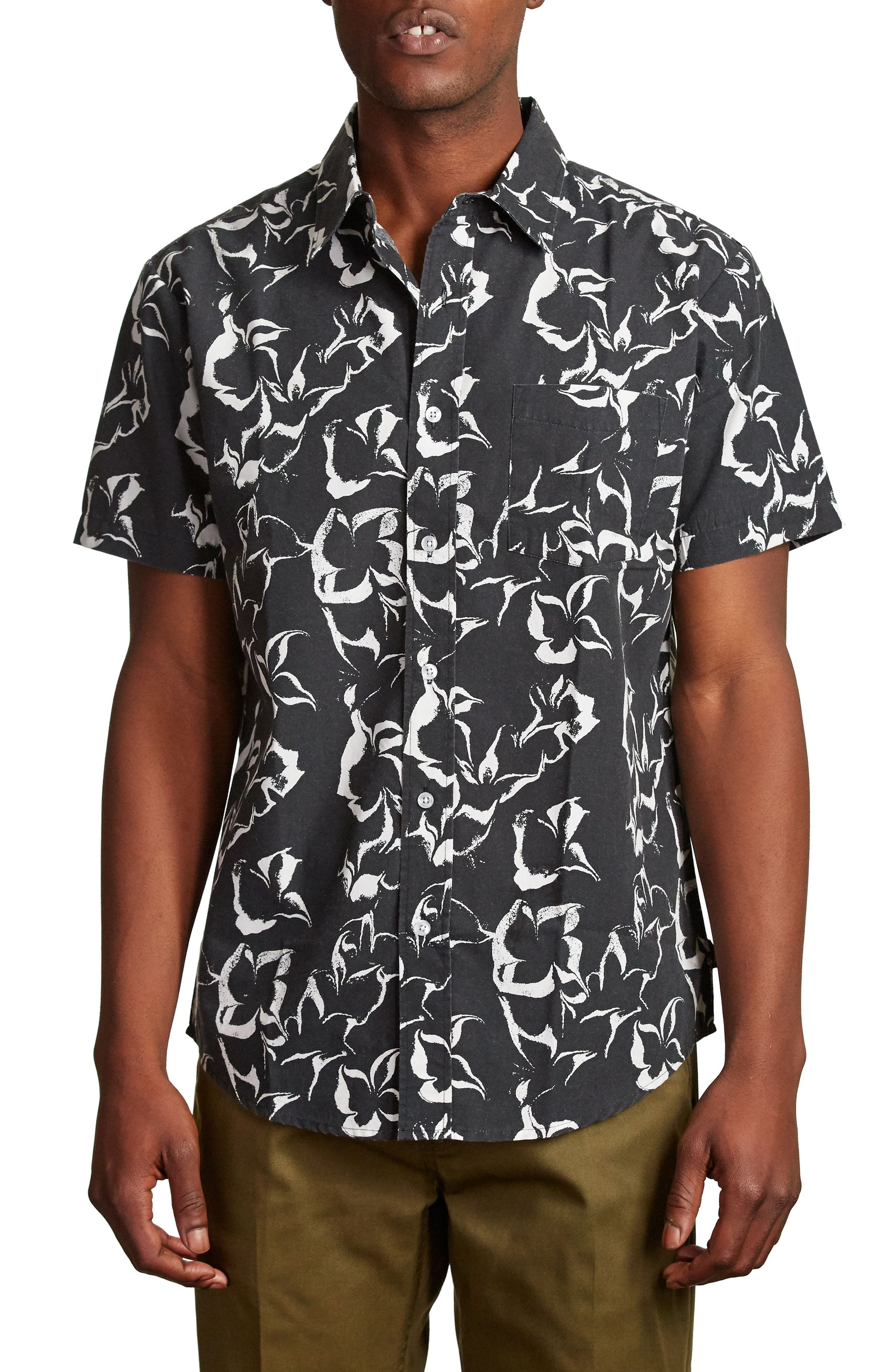 Stuart Woven Shirt,                         Main,                         color, Washed Black