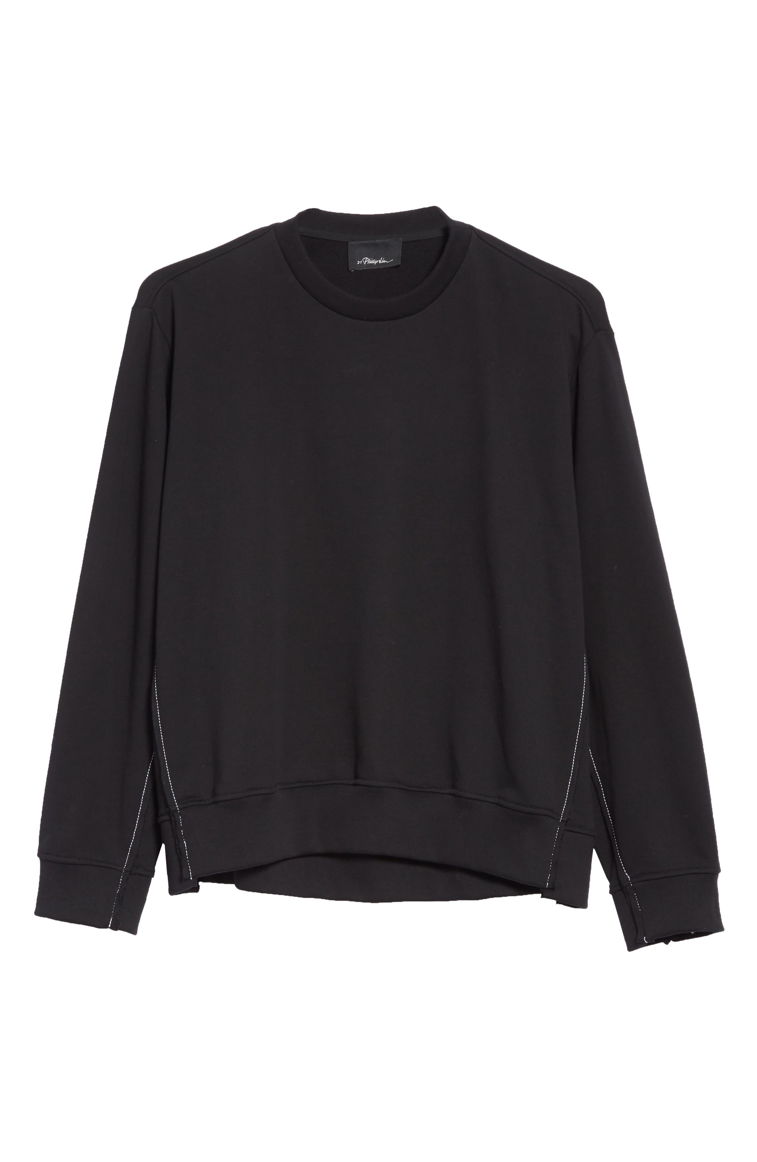 Reconstructed Crewneck Sweatshirt,                             Alternate thumbnail 6, color,                             Black