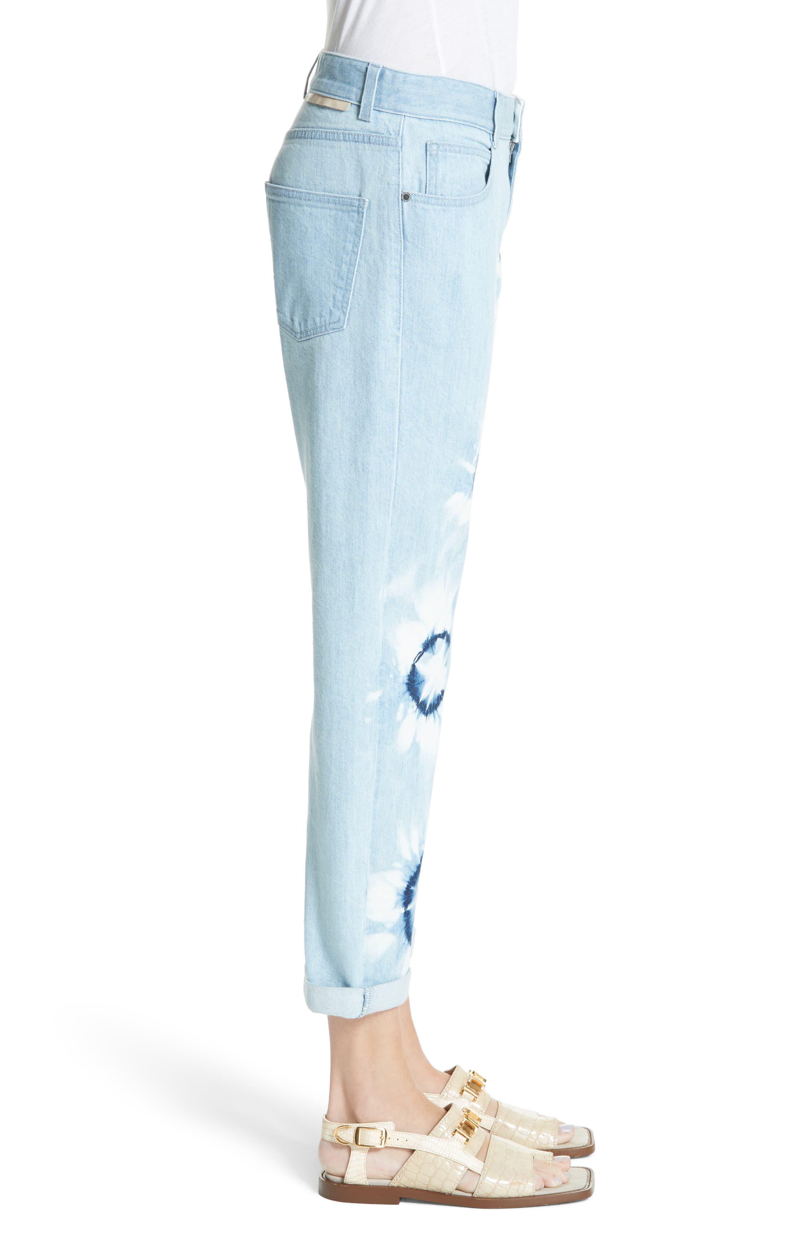 Tie Dye Boyfriend Jeans,                             Alternate thumbnail 4, color,                             Light Blue