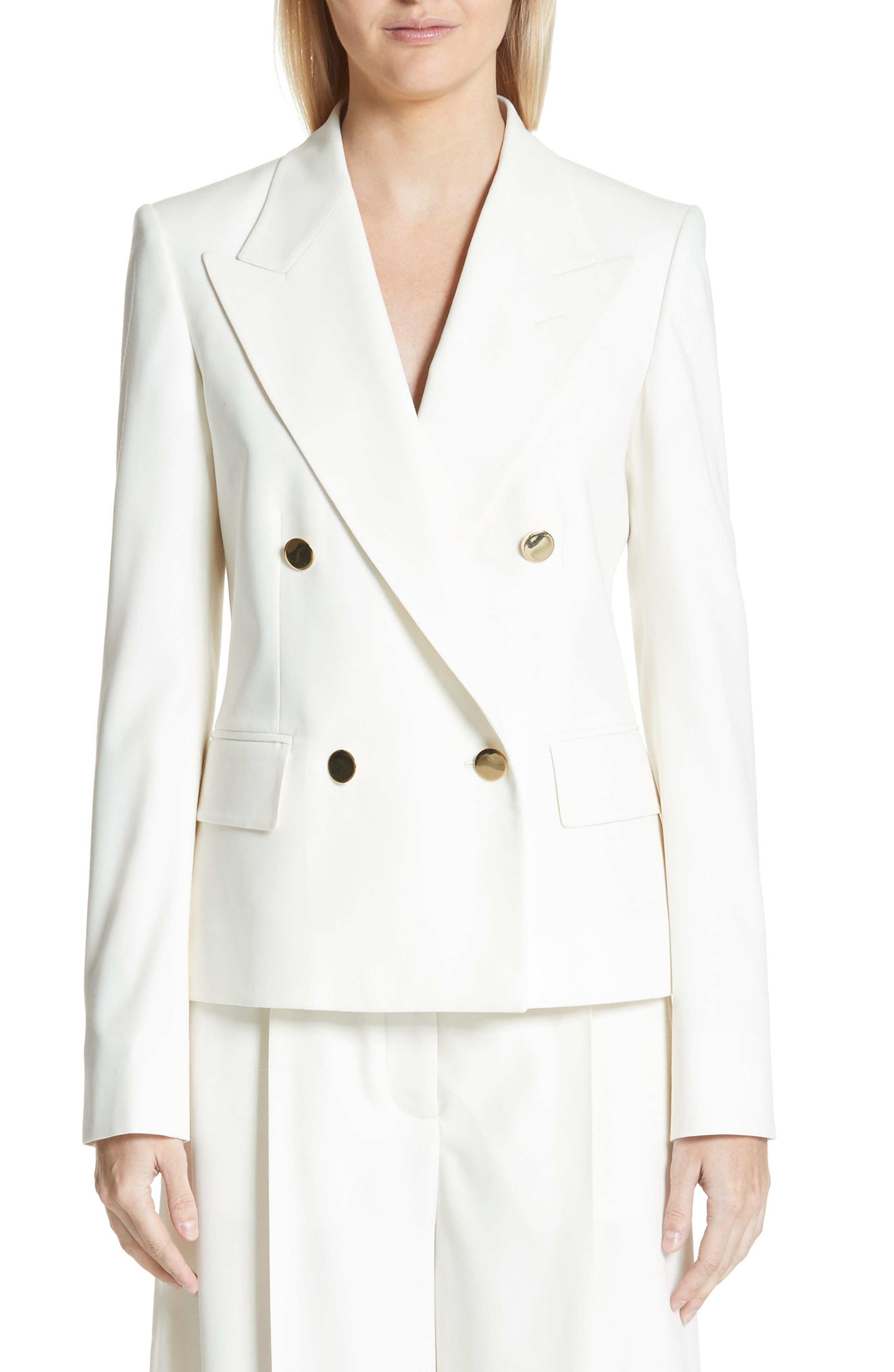 Summer Twill Double Breasted Blazer,                         Main,                         color, Cream