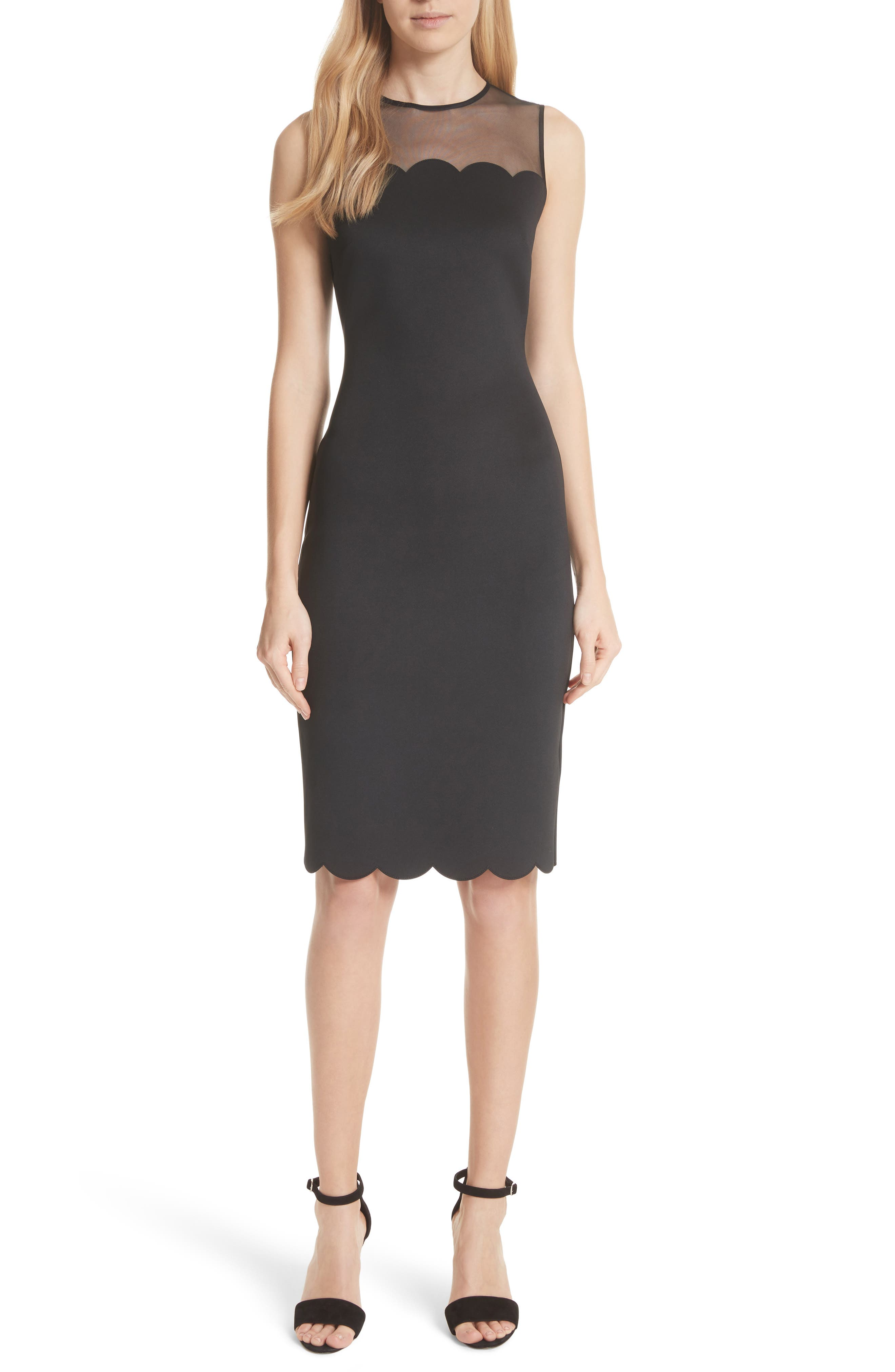 Scalloped Mesh Yoke Body-Con Dress,                             Main thumbnail 1, color,                             Black