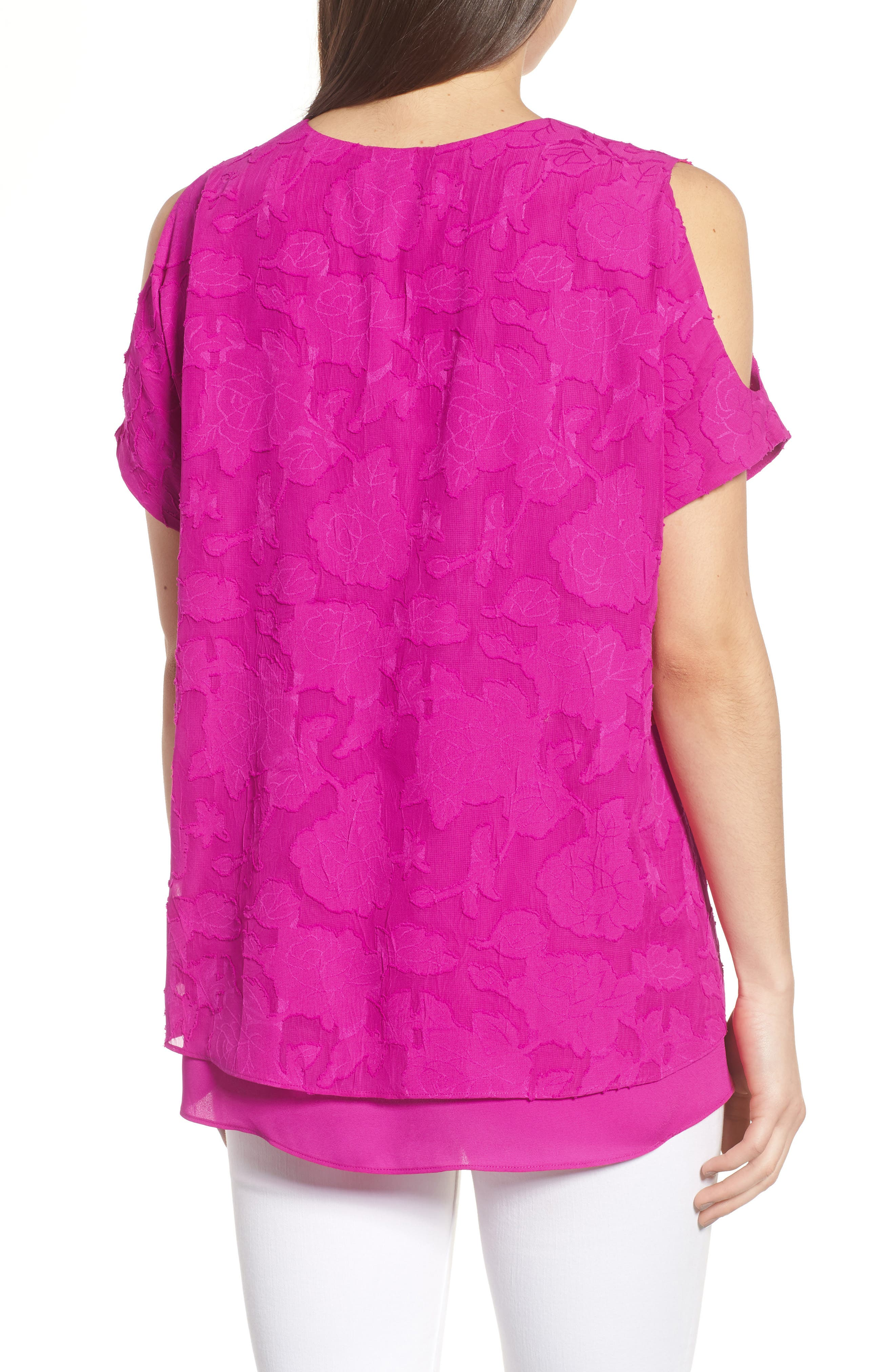 Floral Jacquard Cold Shoulder Top,                             Alternate thumbnail 2, color,                             686-Pink Nouveau
