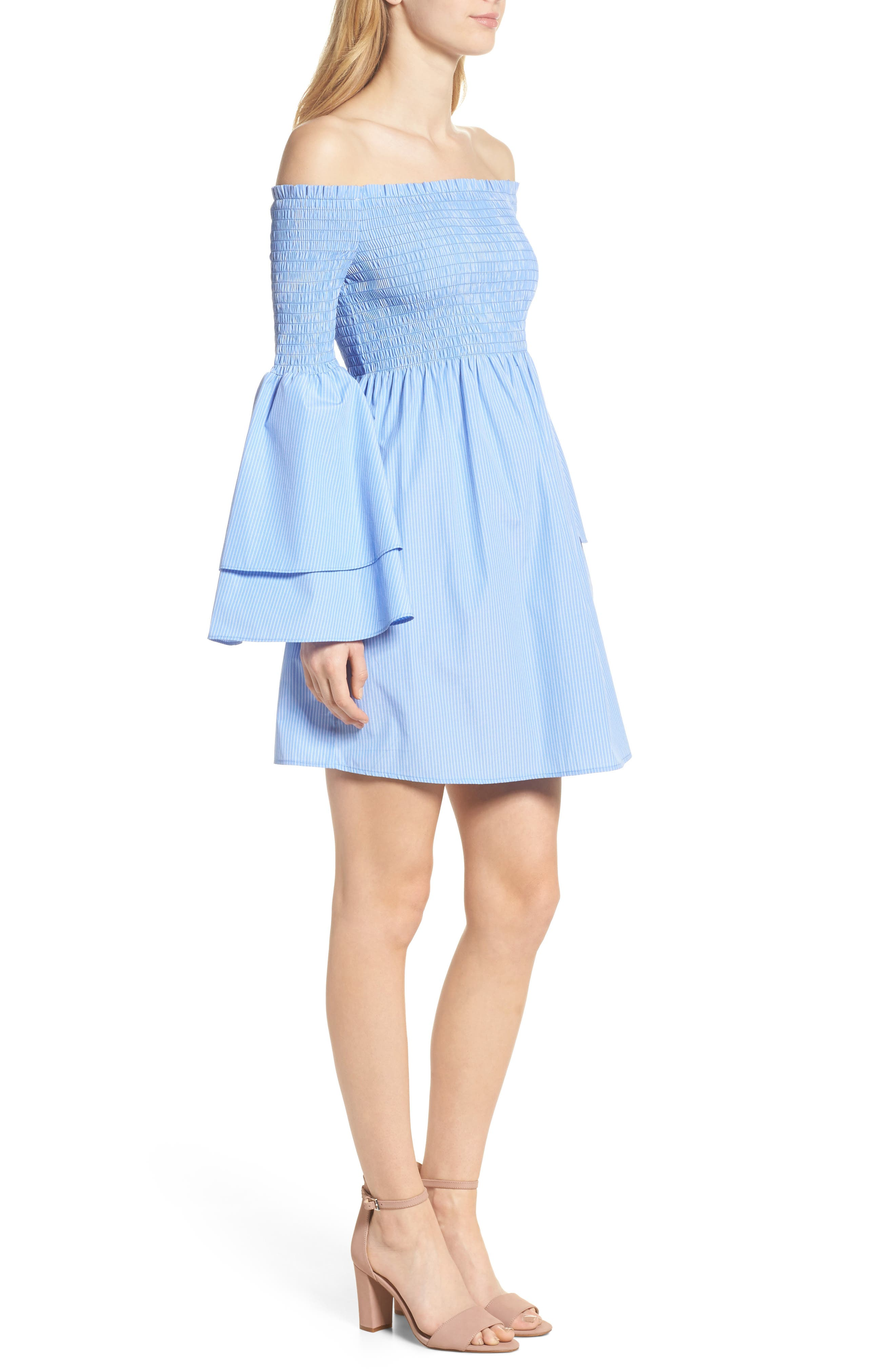 Smocked Off the Shoulder Bell Sleeve Dress,                             Alternate thumbnail 3, color,                             Blue/ White Stripe
