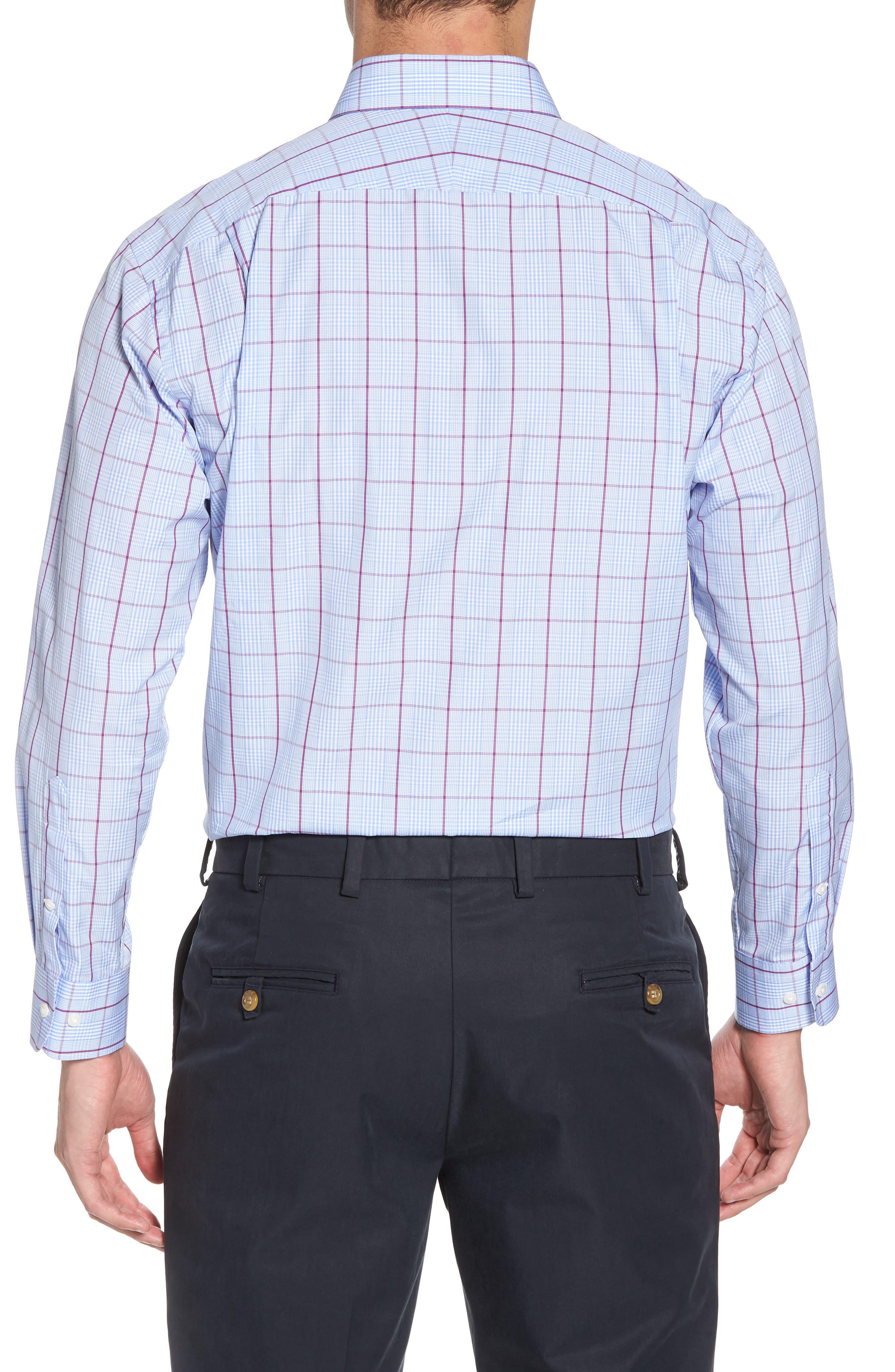 Traditional Fit Plaid Dress Shirt,                             Alternate thumbnail 3, color,                             Purple Sparkle