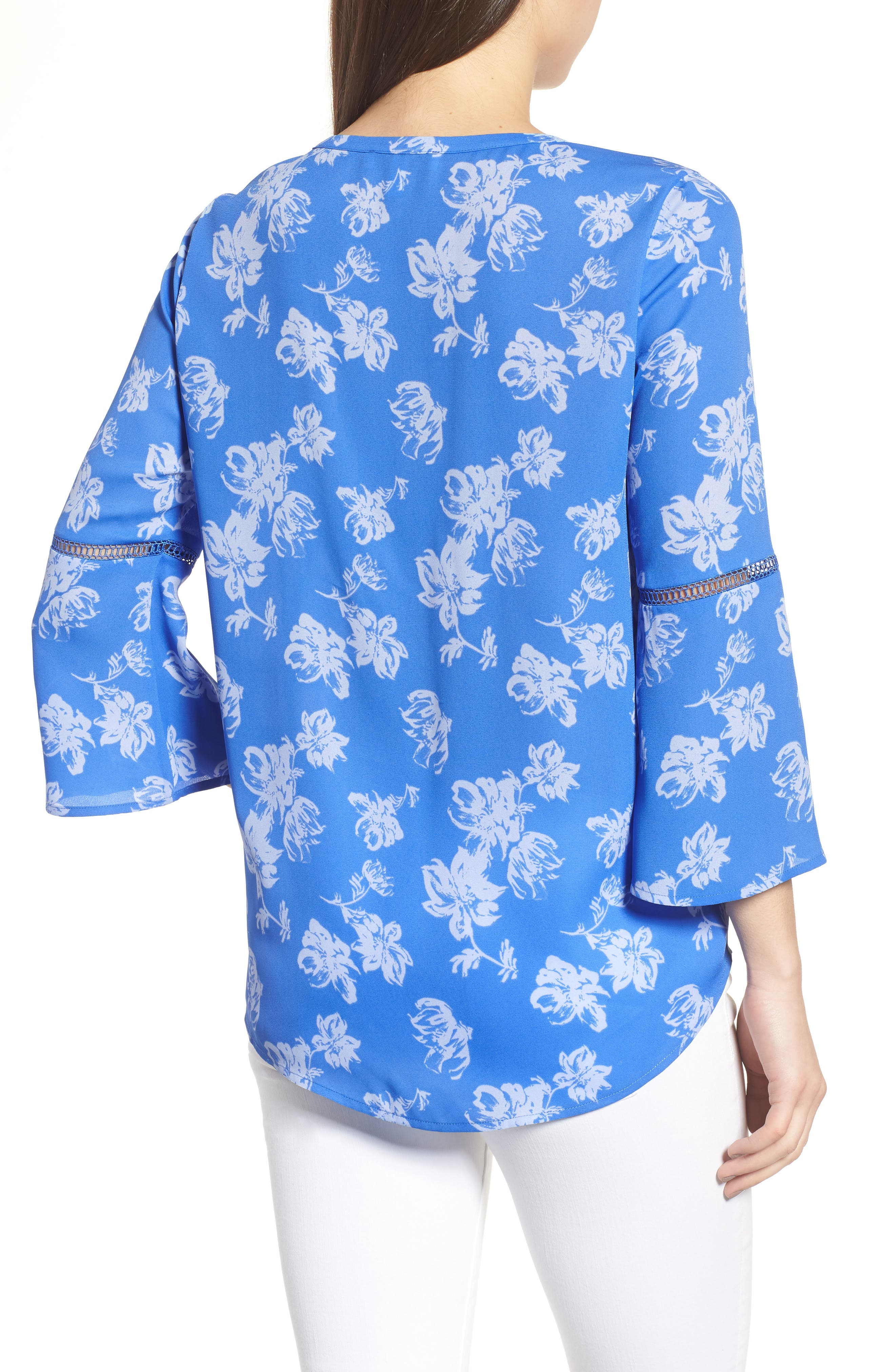 Bell Sleeve Floral Pintuck Blouse,                             Alternate thumbnail 2, color,                             428-Stella Blue