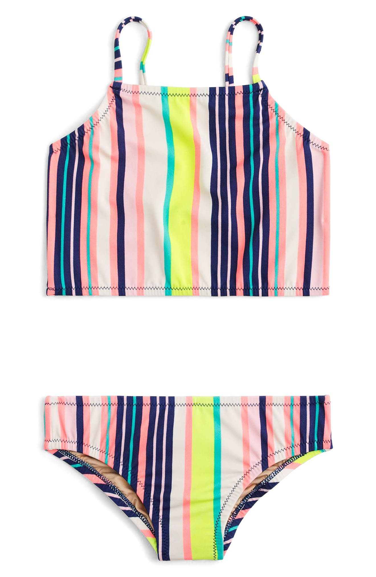 Stripe Two-Piece Swimsuit,                             Main thumbnail 1, color,                             Aqua Pink Multi