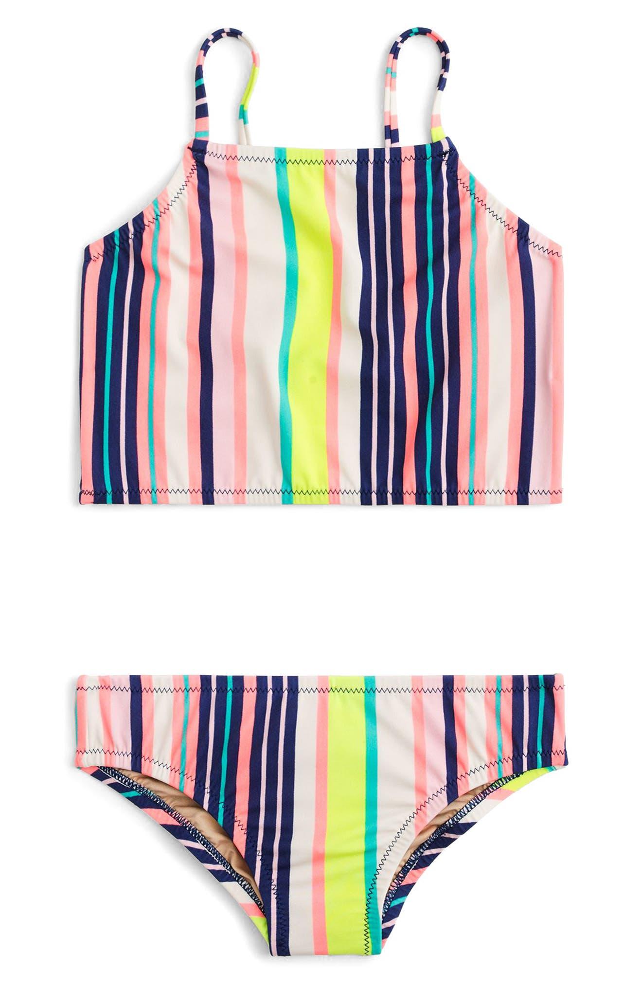 Stripe Two-Piece Swimsuit,                         Main,                         color, Aqua Pink Multi