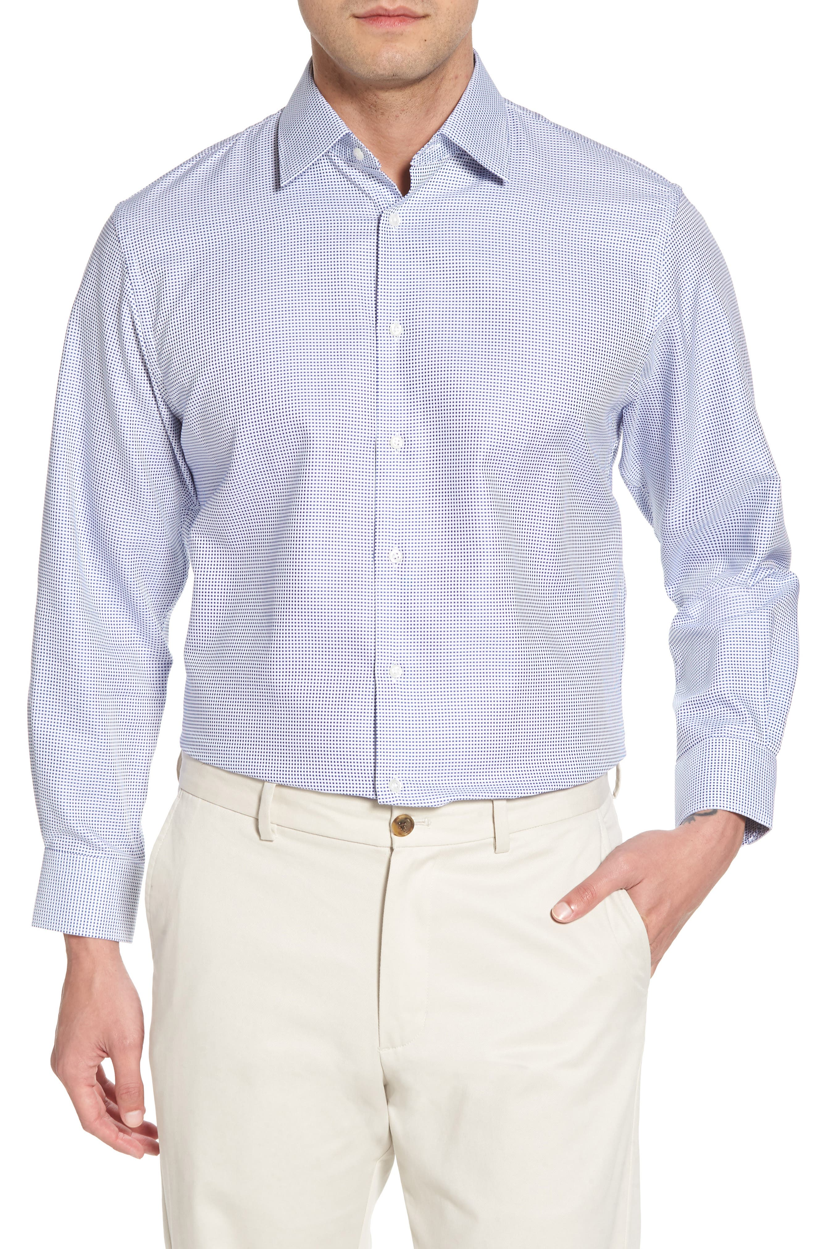 Traditional Fit Microcheck Dress Shirt,                         Main,                         color, Blue Surf
