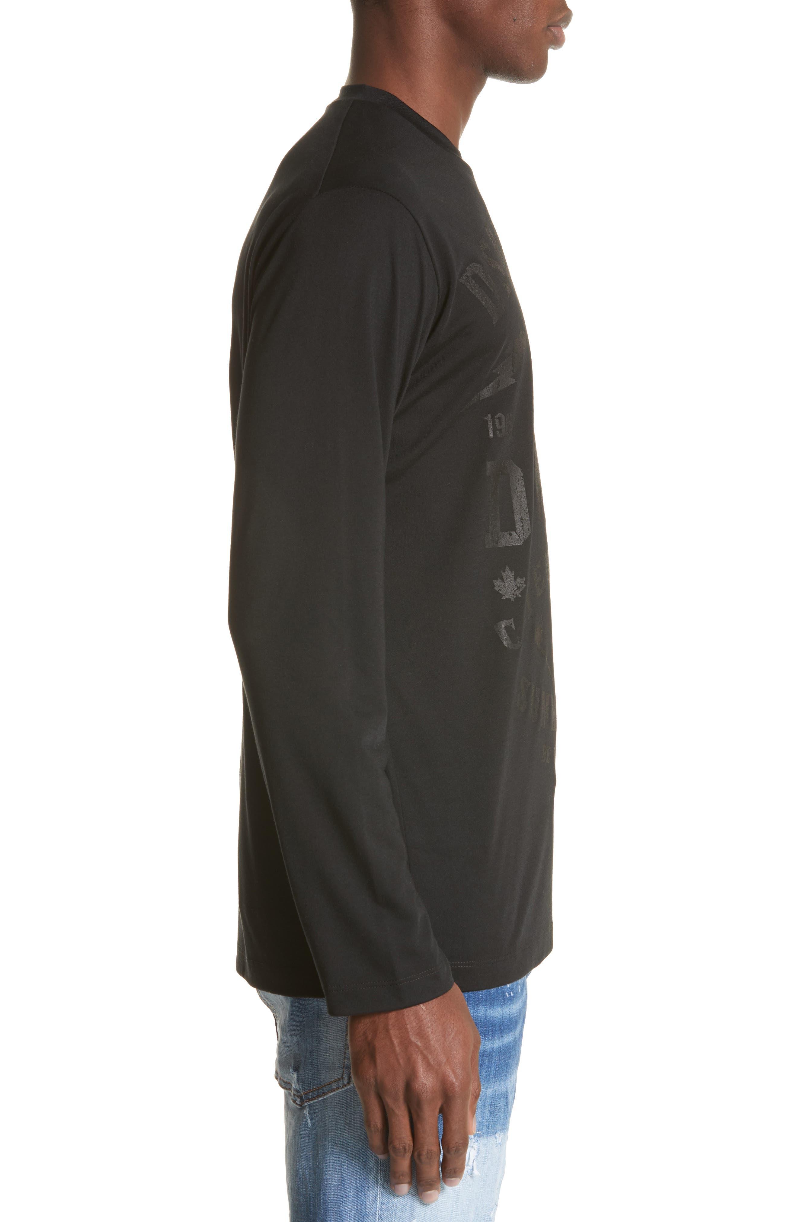 Logo Graphic Long Sleeve T-Shirt,                             Alternate thumbnail 3, color,                             Black