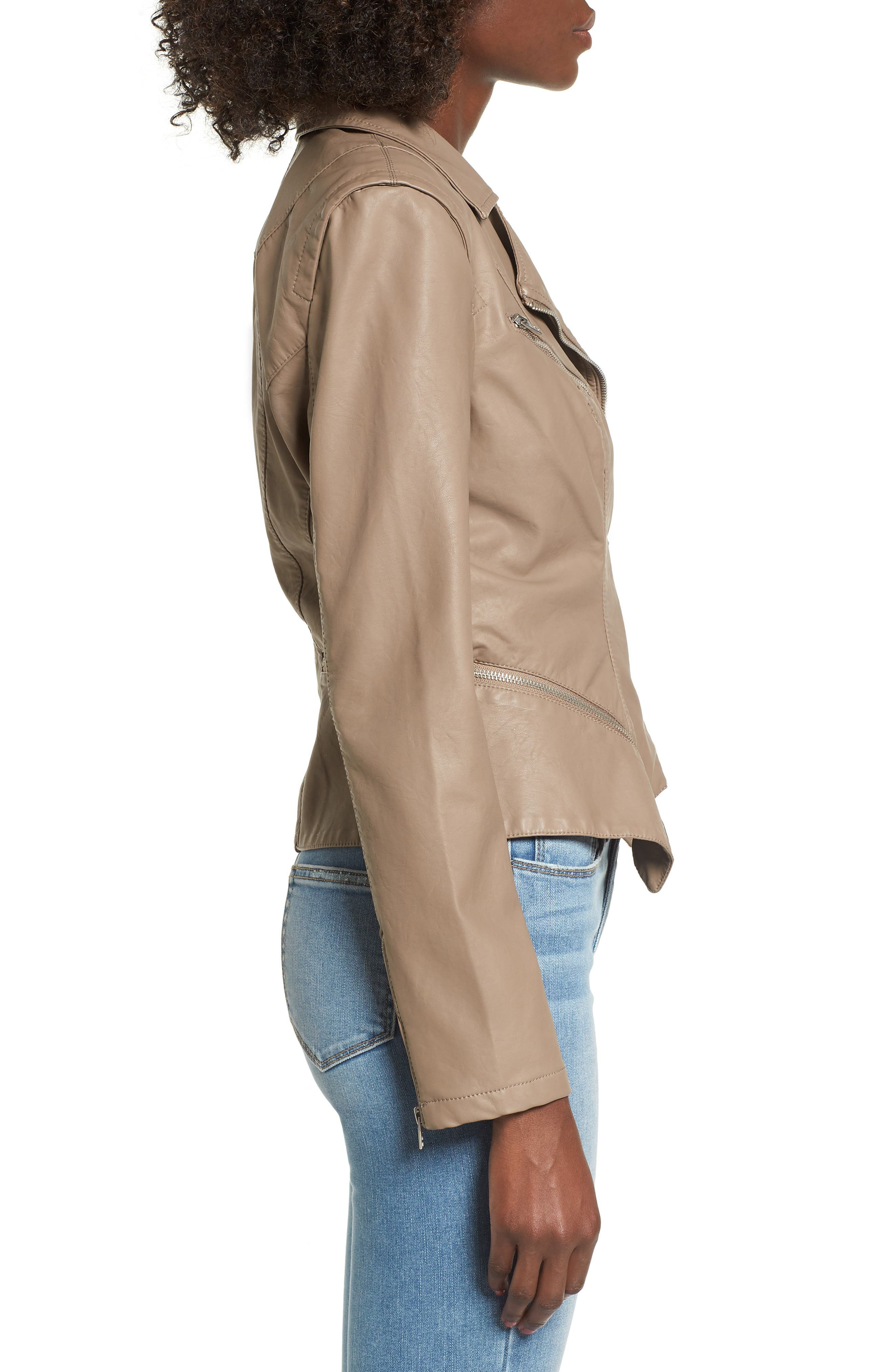 Faux Leather Moto Jacket,                             Alternate thumbnail 3, color,                             Sand Stoner