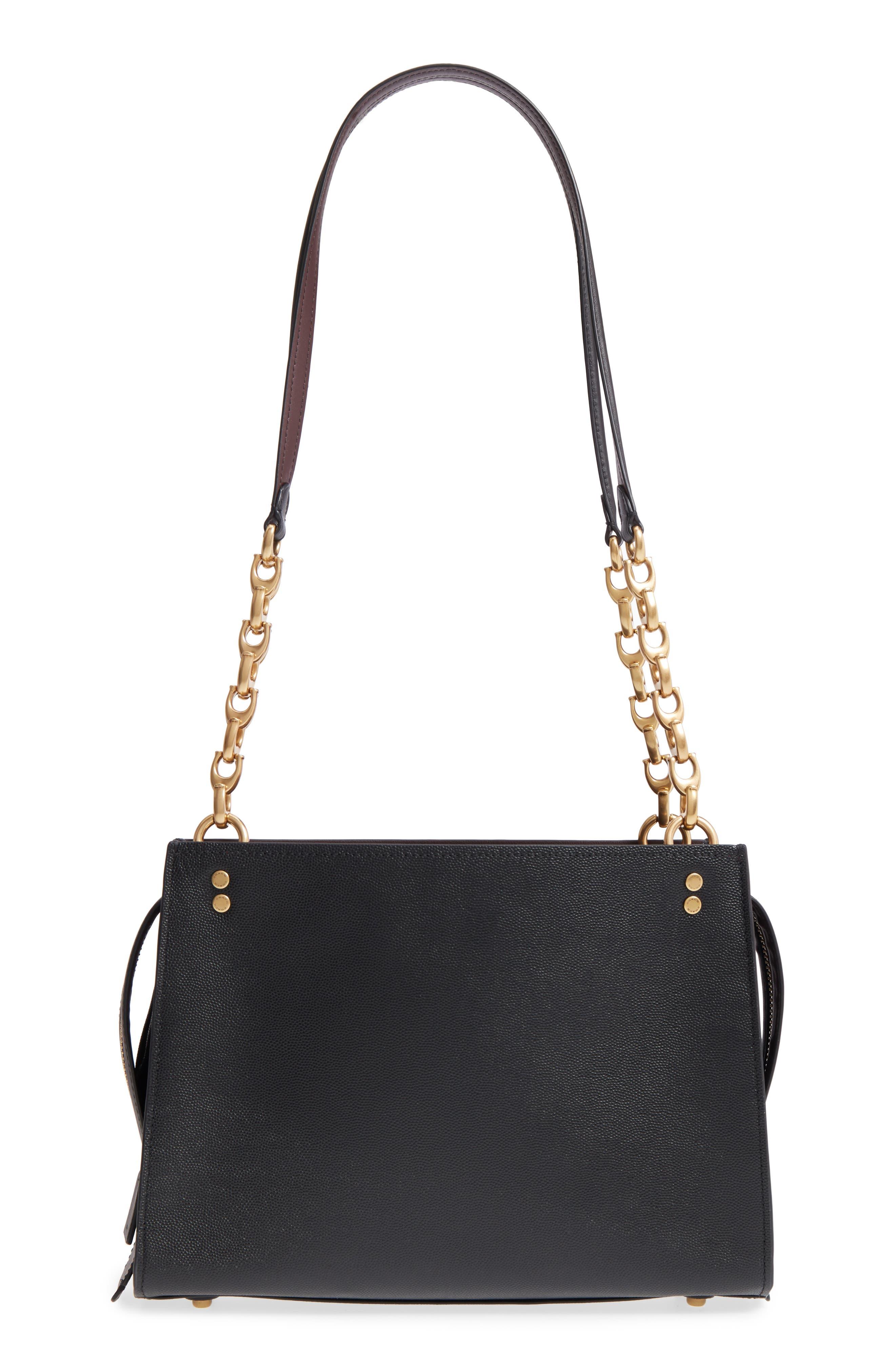 Rogue Leather Shoulder Bag,                             Alternate thumbnail 3, color,                             Black