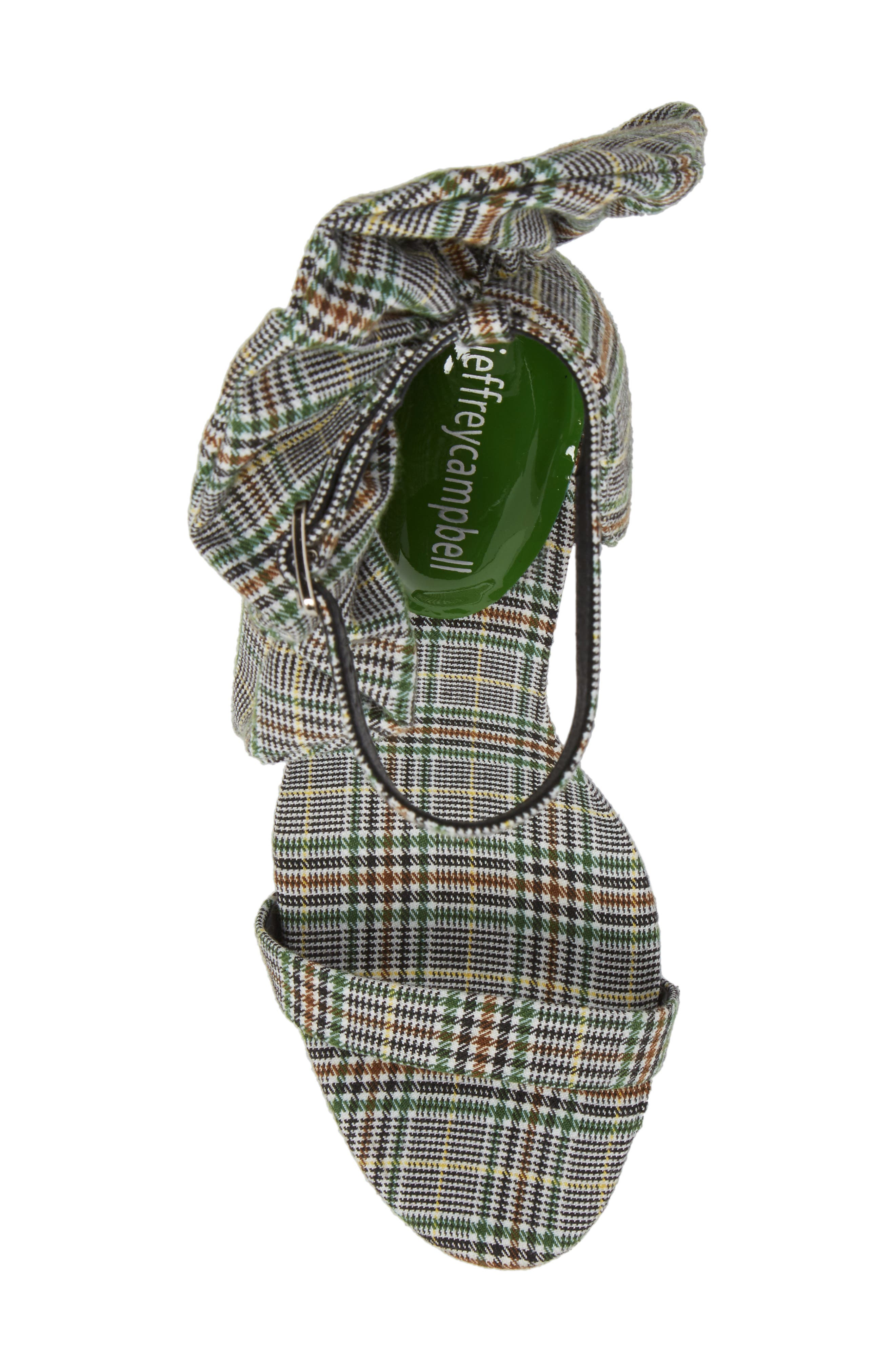 Cheshire Ruffle Sandal,                             Alternate thumbnail 4, color,                             Black/ White/ Green Fabric