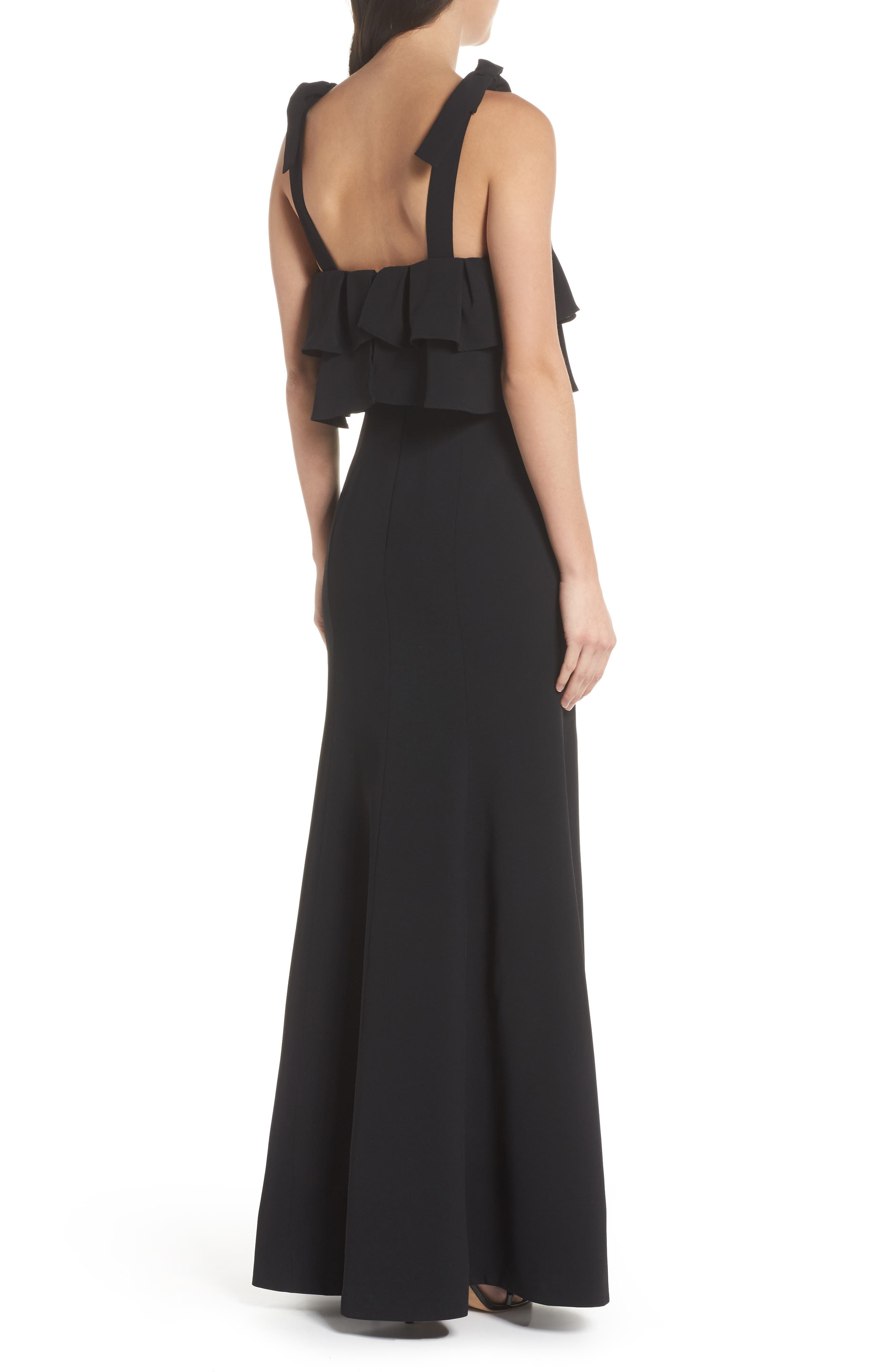 Be About You Ruffle Bodice Gown,                             Alternate thumbnail 2, color,                             Black
