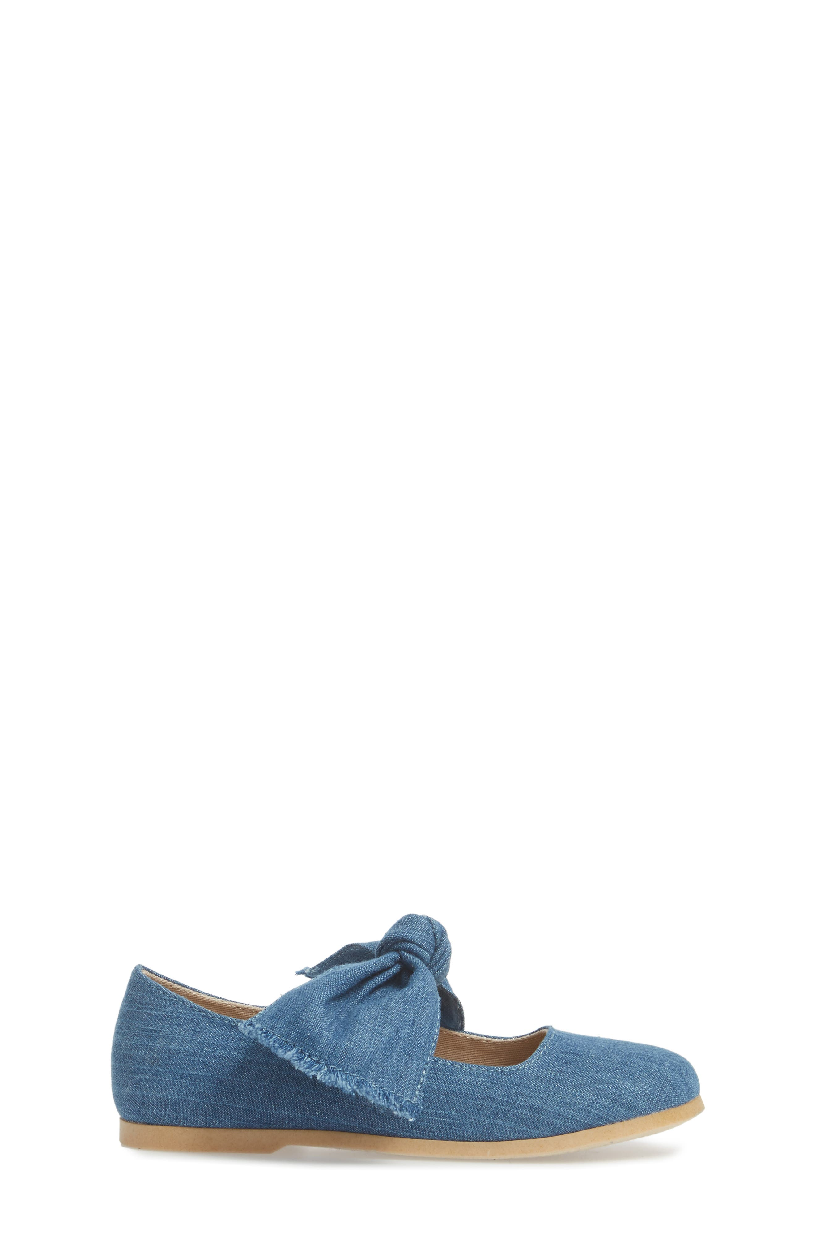 Helina Bow Mary Jane Flat,                             Alternate thumbnail 3, color,                             Chambray Fabric