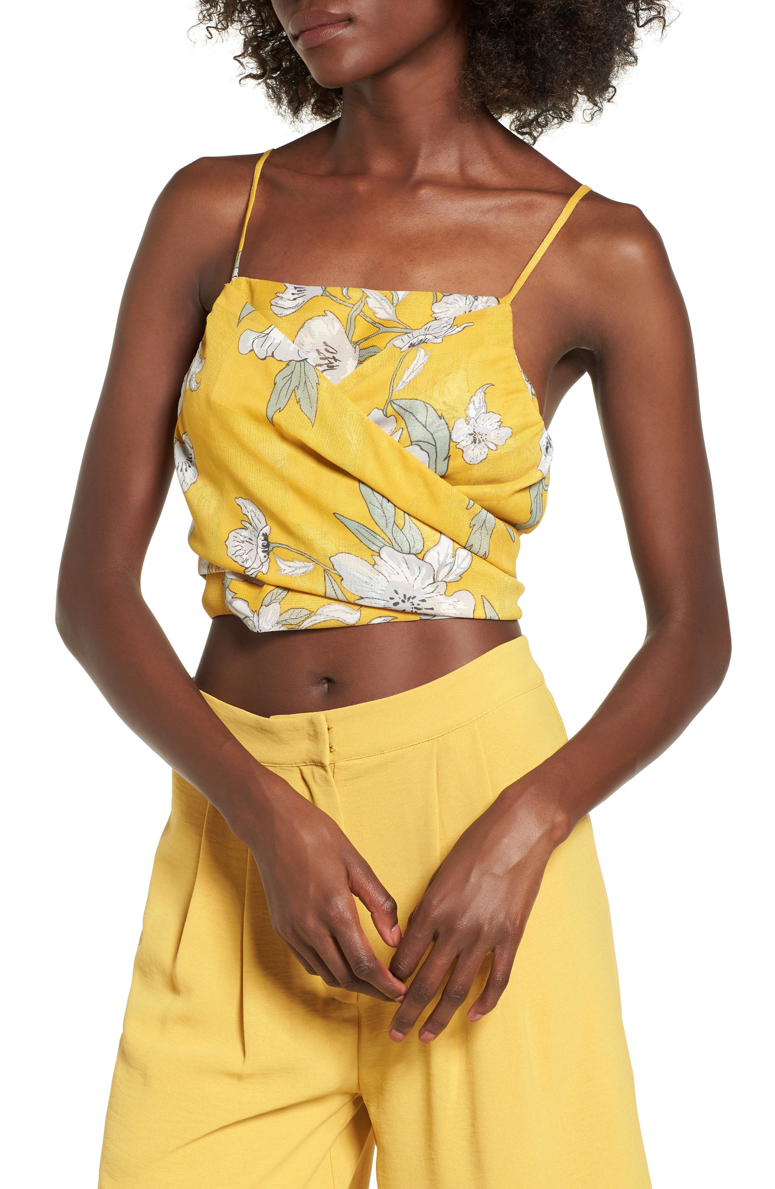 Chriselle x J.O.A. Tie Front Crop Top,                             Alternate thumbnail 6, color,                             Quince Blossom