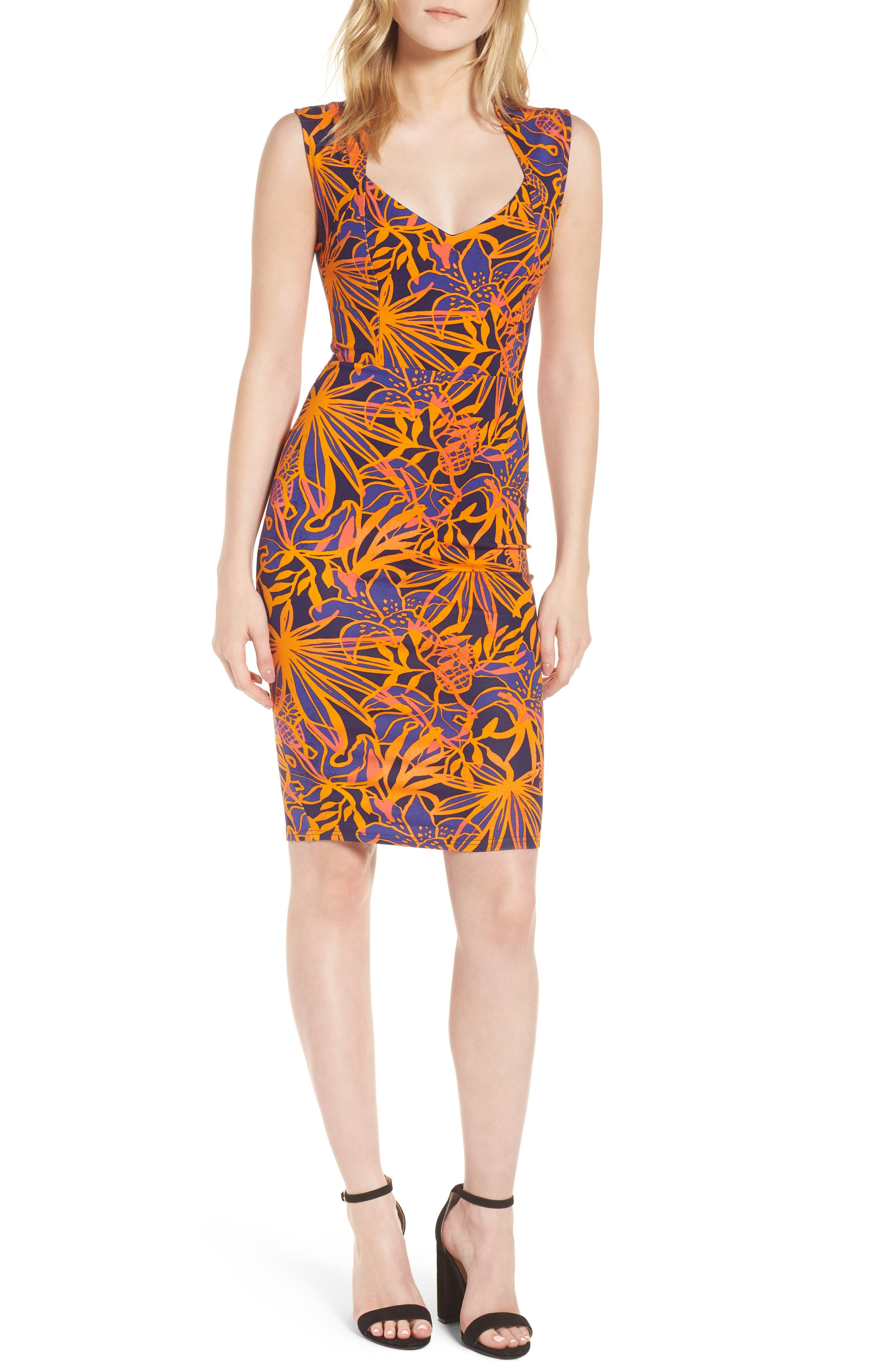Ponte Body-Con Dress,                             Main thumbnail 1, color,                             Bali Tropical Print