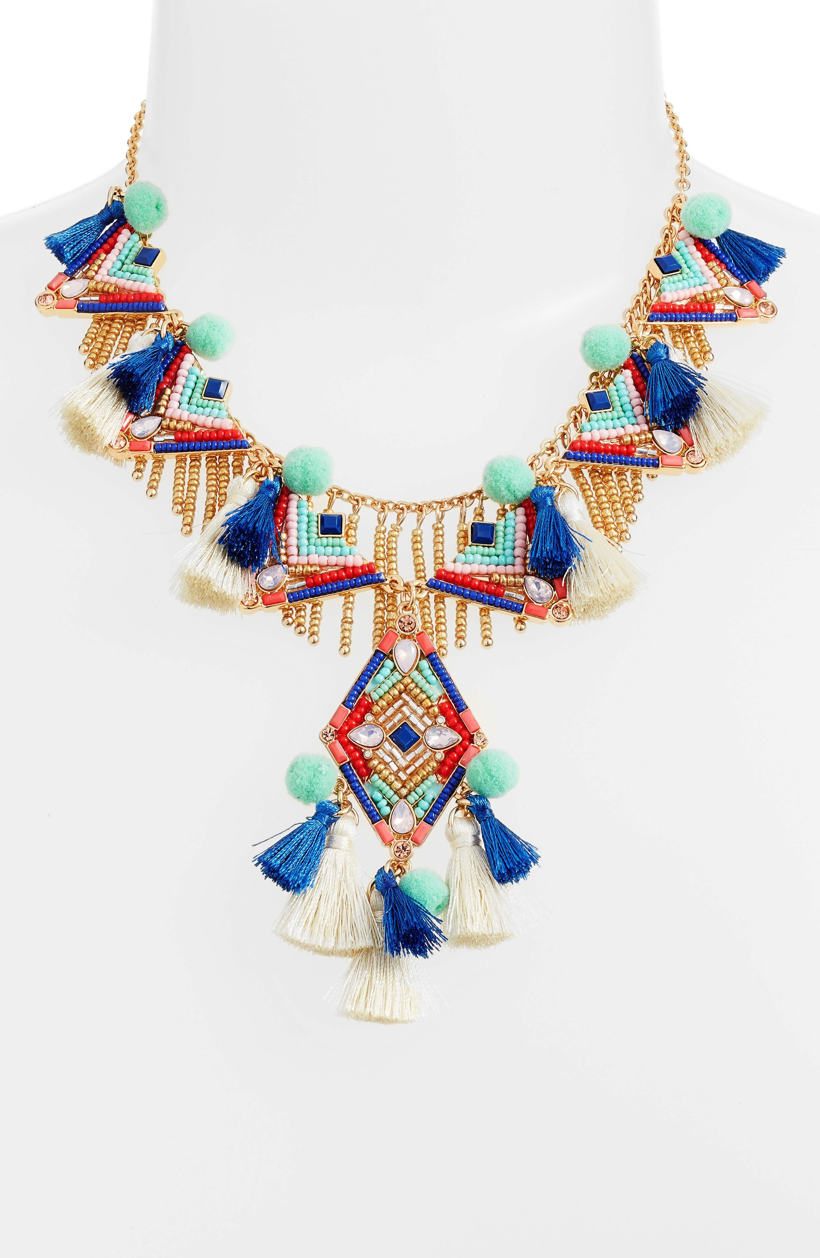 Geo Drama Statement Necklace,                             Main thumbnail 1, color,                             Multi/ Gold
