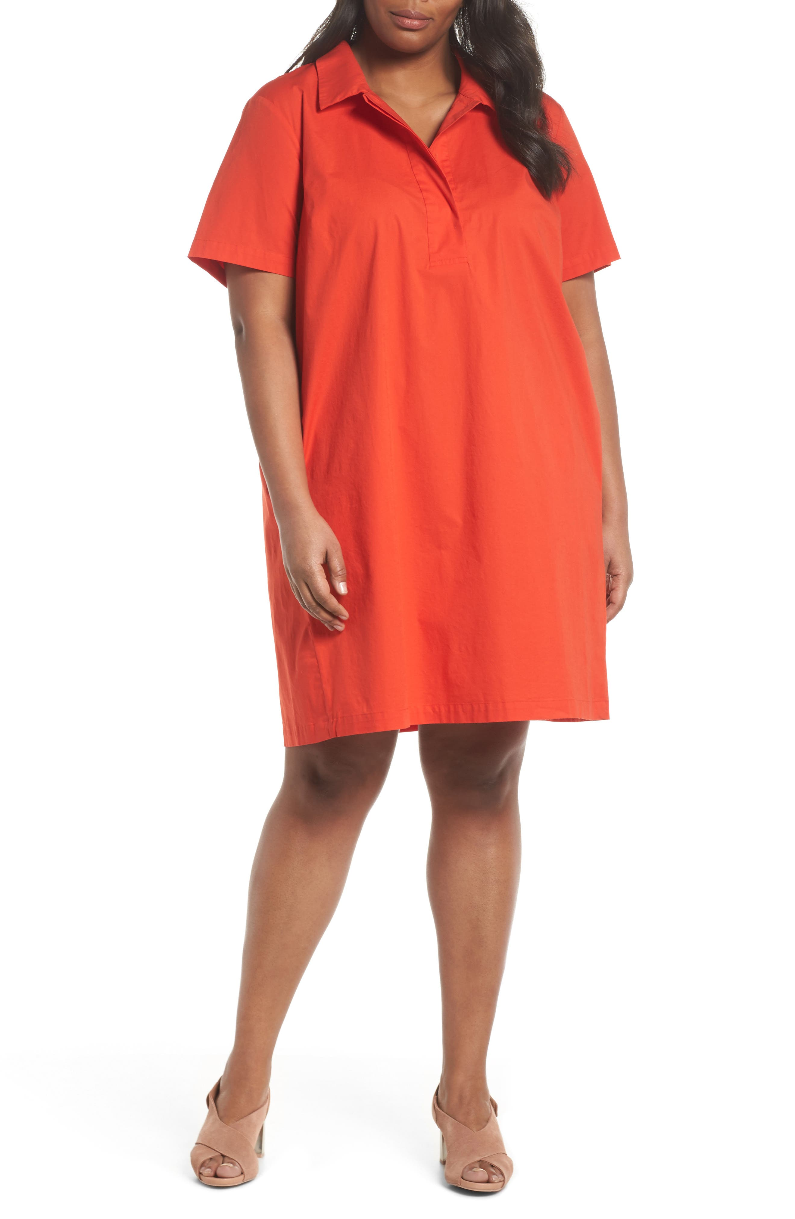 Alternate Image 1 Selected - Eileen Fisher Collared Shift Dress (Plus Size)