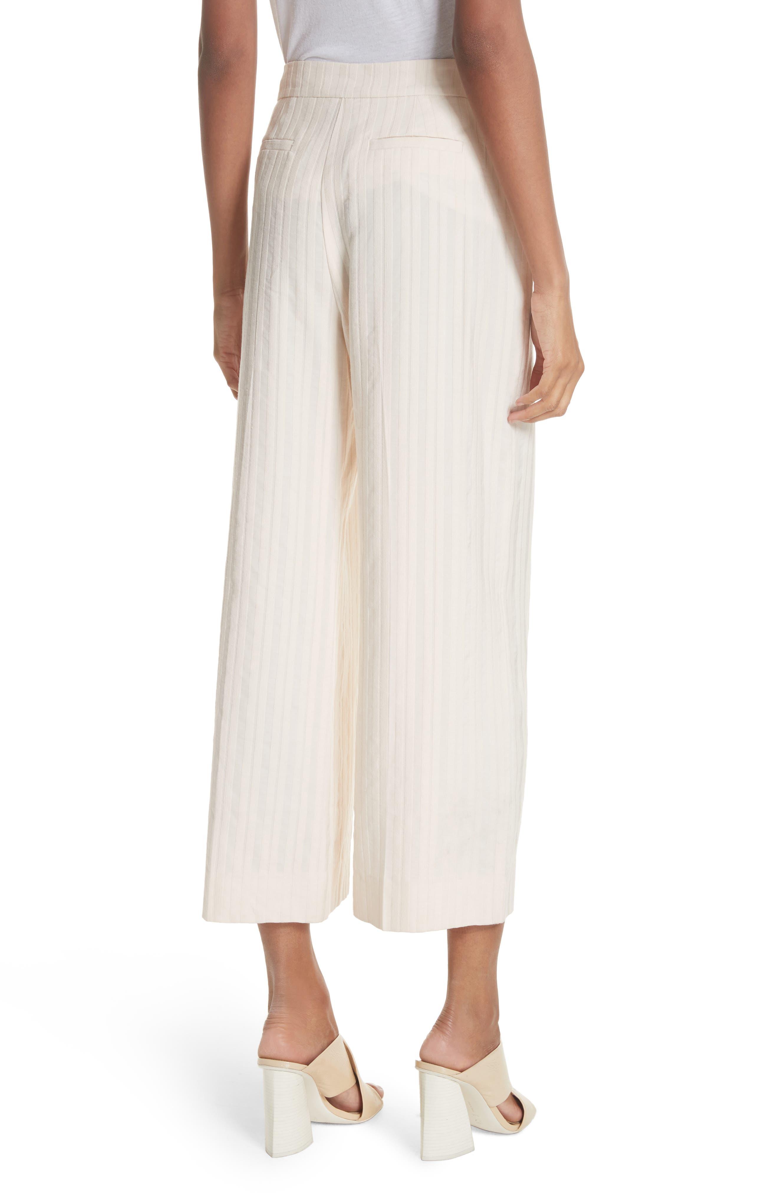 Textured Stripe Crop Pants,                             Alternate thumbnail 2, color,                             Creme Brulee
