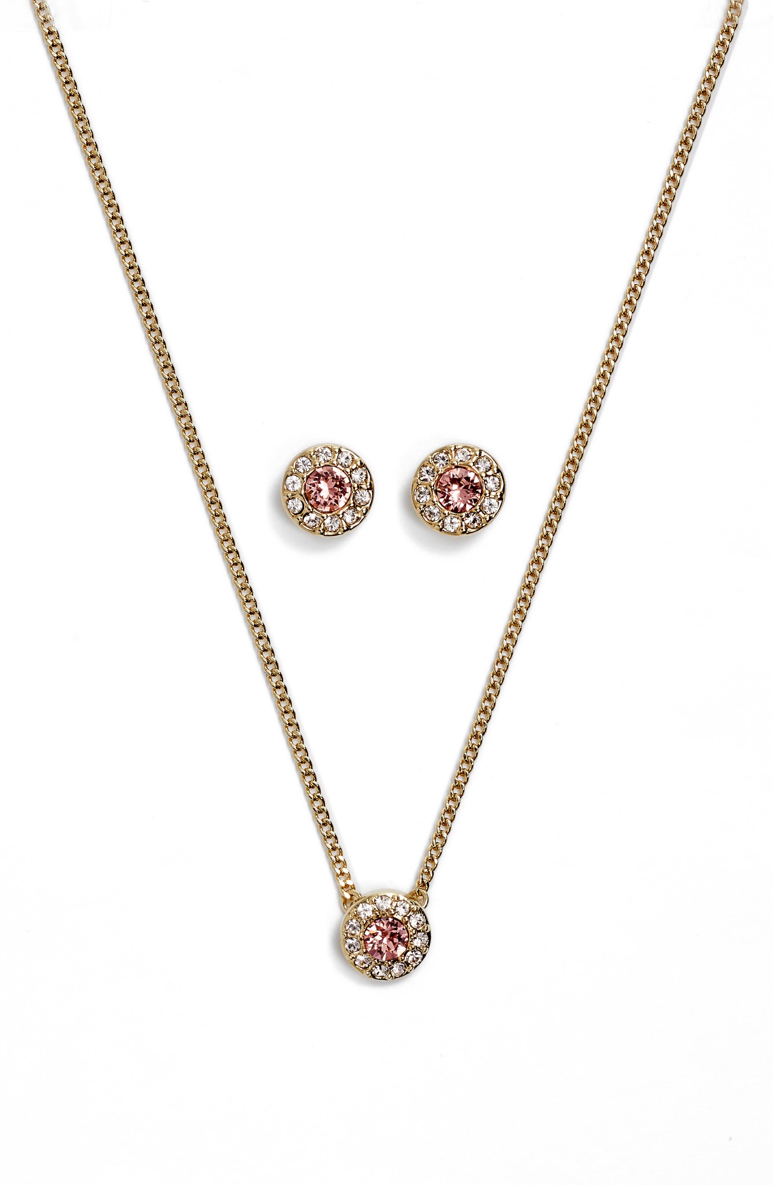Pavé Necklace & Earrings Set,                         Main,                         color, Gold/ Rose Peach/ Silk