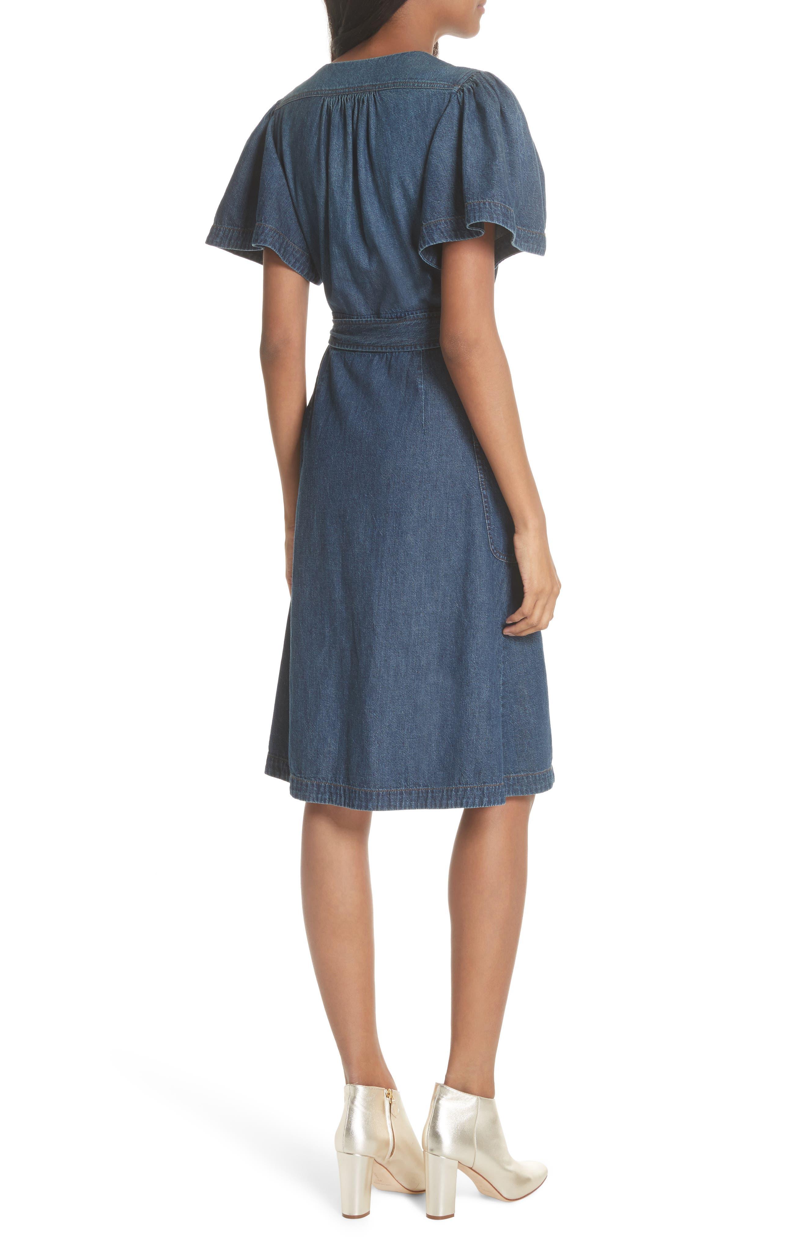 Denim Wrap Dress,                             Alternate thumbnail 2, color,                             Avignon Wash