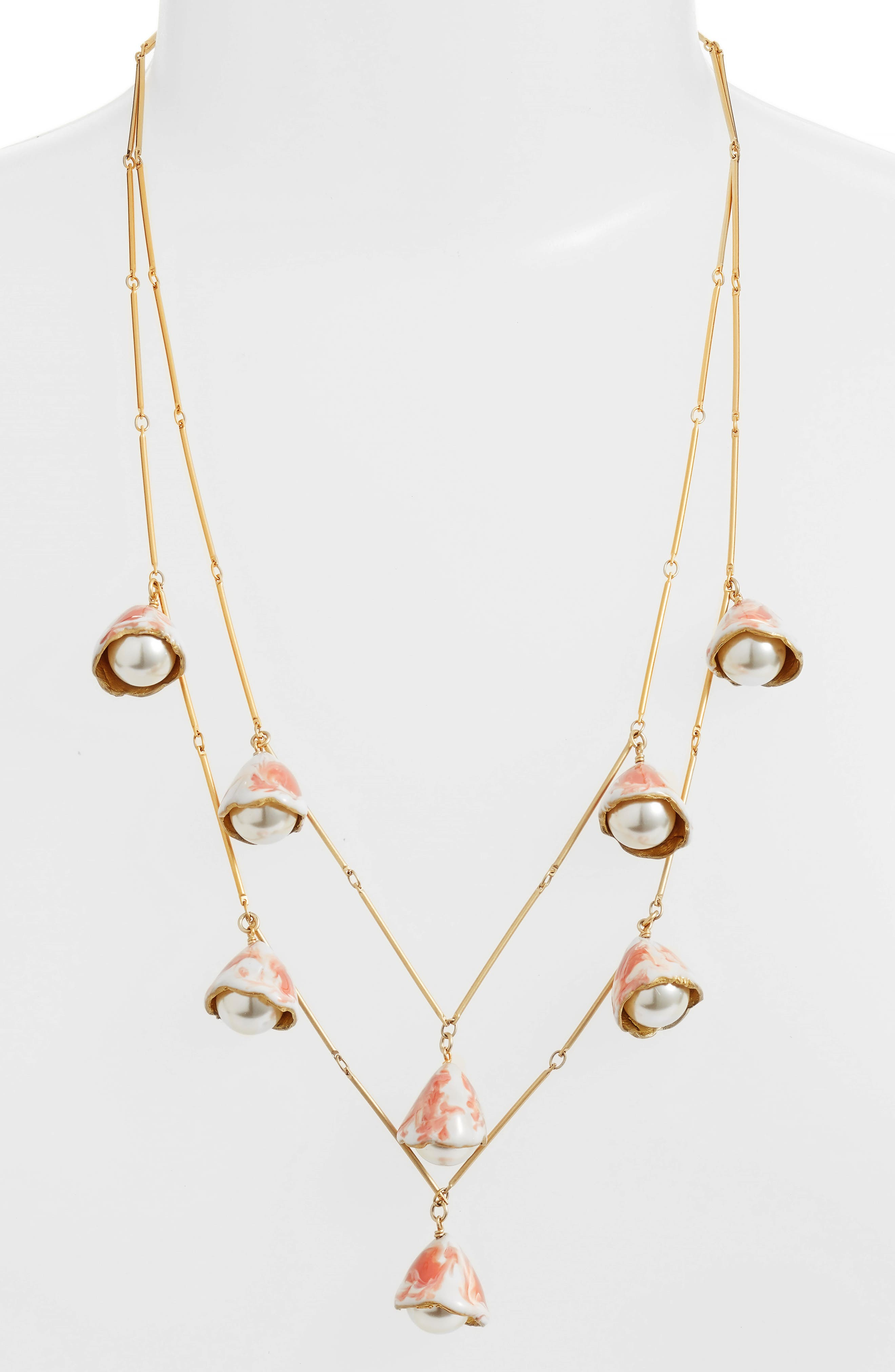 Tory Burch Imitation Pearl Bud Rosary Necklace