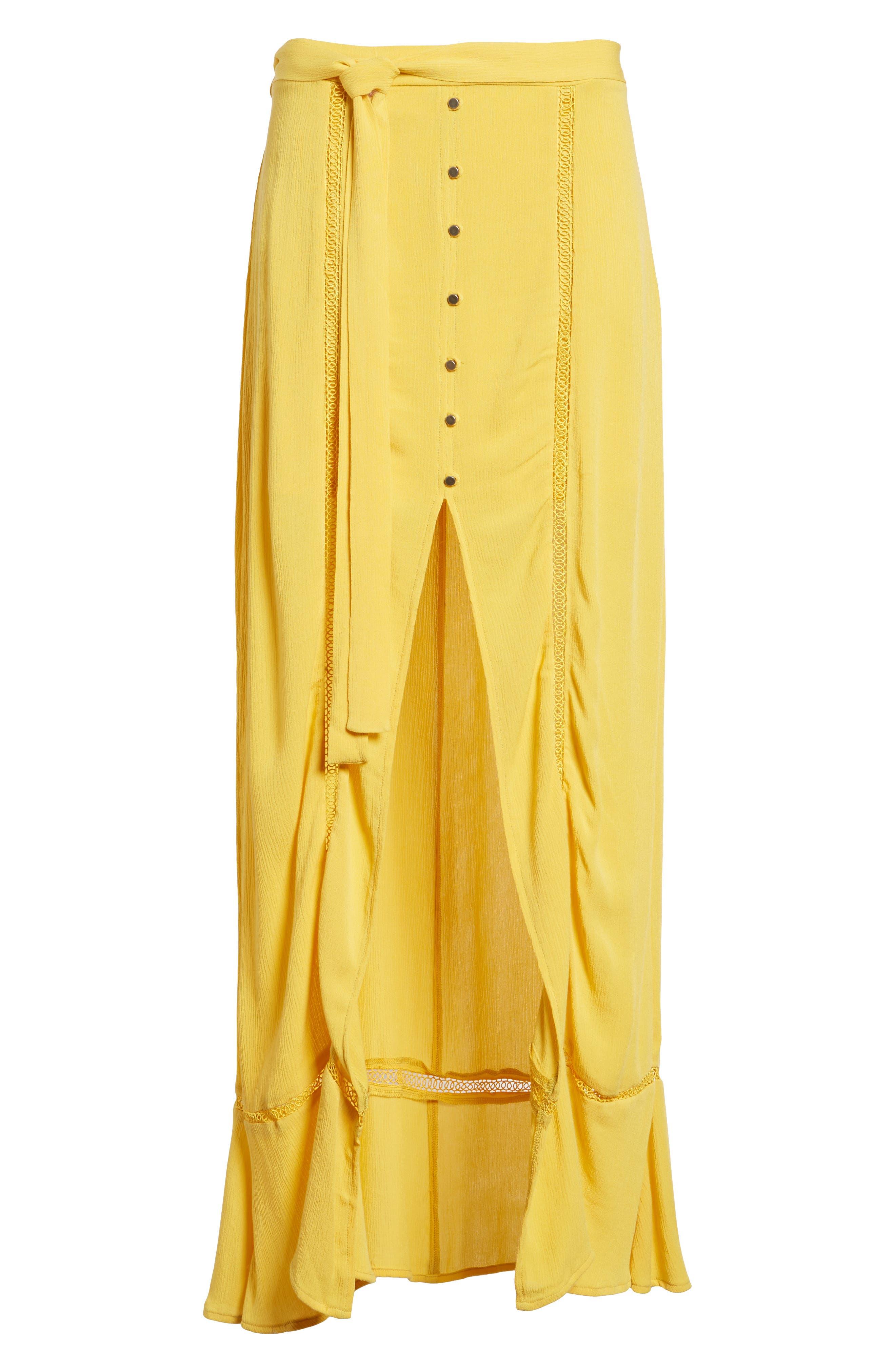 Slit Front Crochet Inset Maxi Skirt,                             Alternate thumbnail 7, color,                             Yellow Sulphur