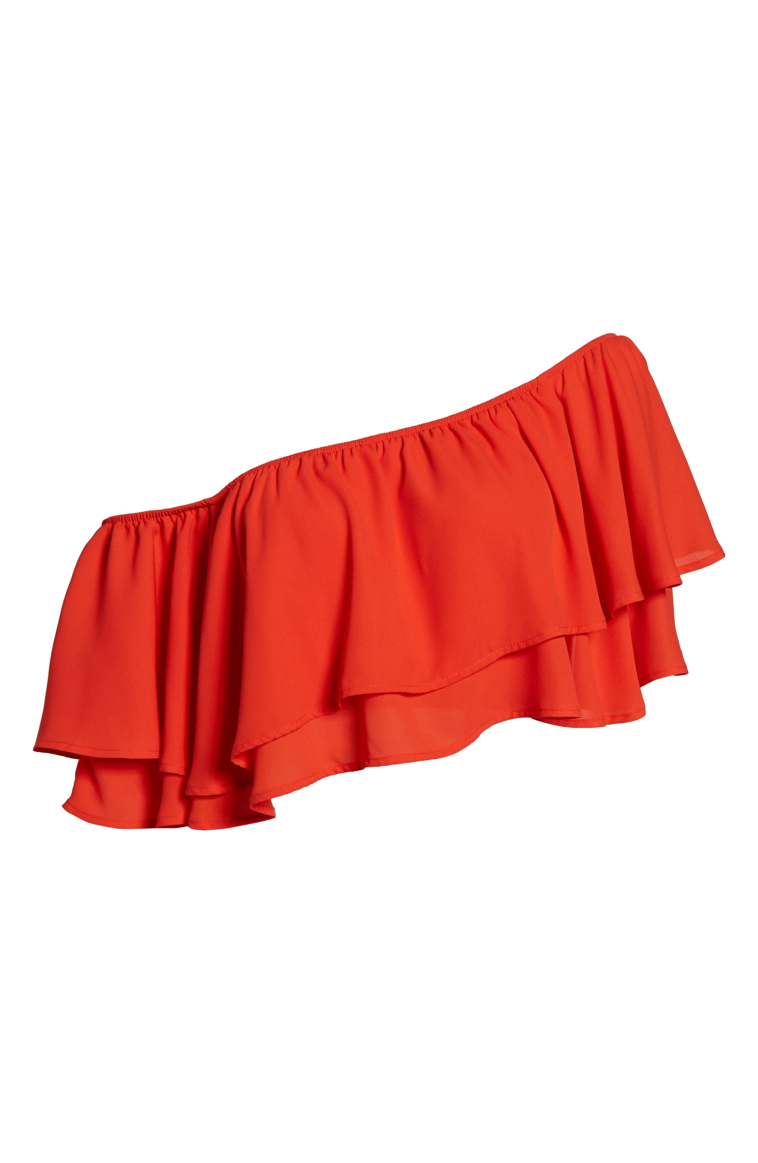 Hayworth Asymmetrical Ruffle Crop Top,                             Alternate thumbnail 6, color,                             Tequila Sunrise