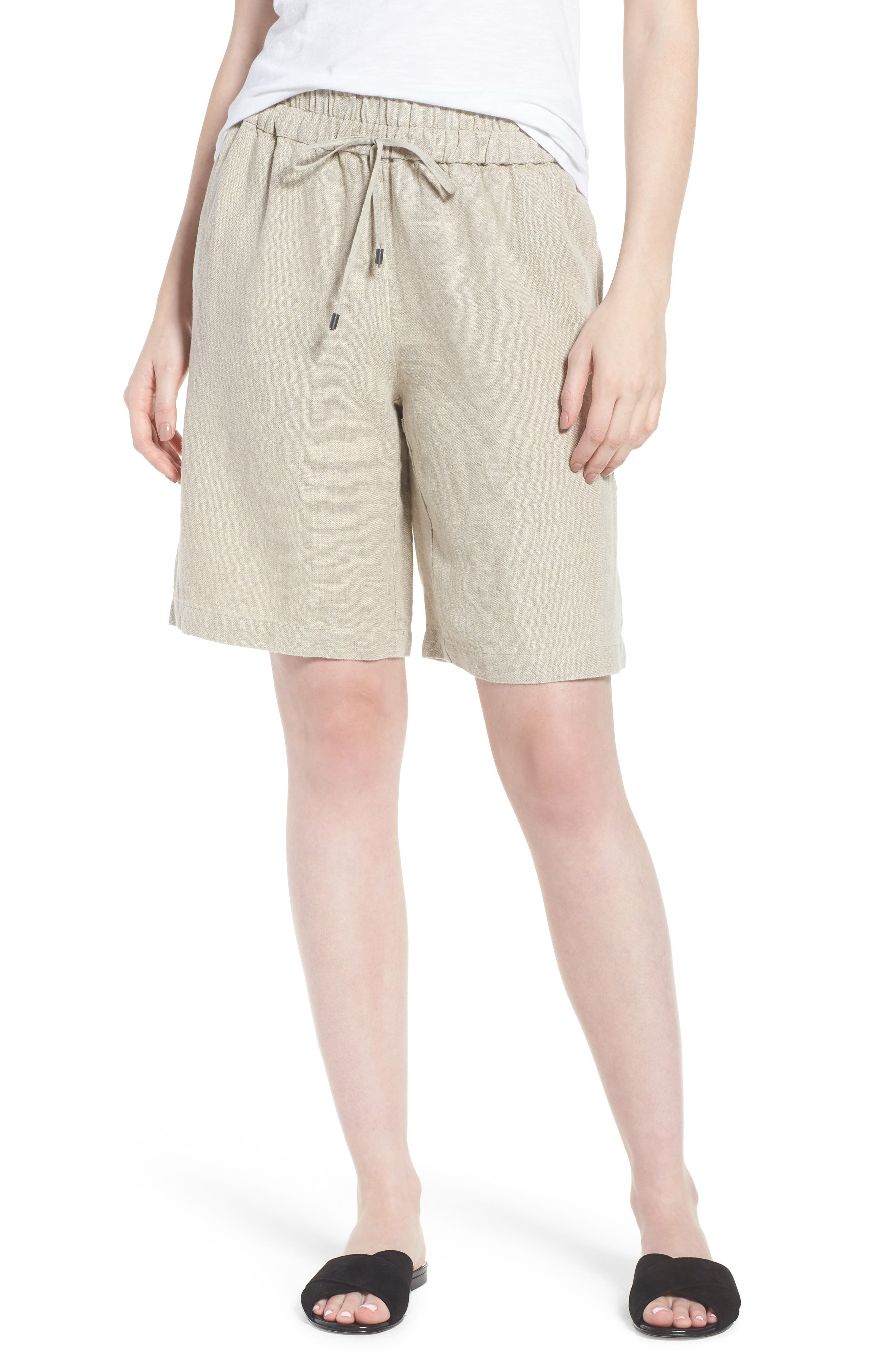 Rolled Organic Linen Shorts,                             Alternate thumbnail 4, color,                             Undyed Natural