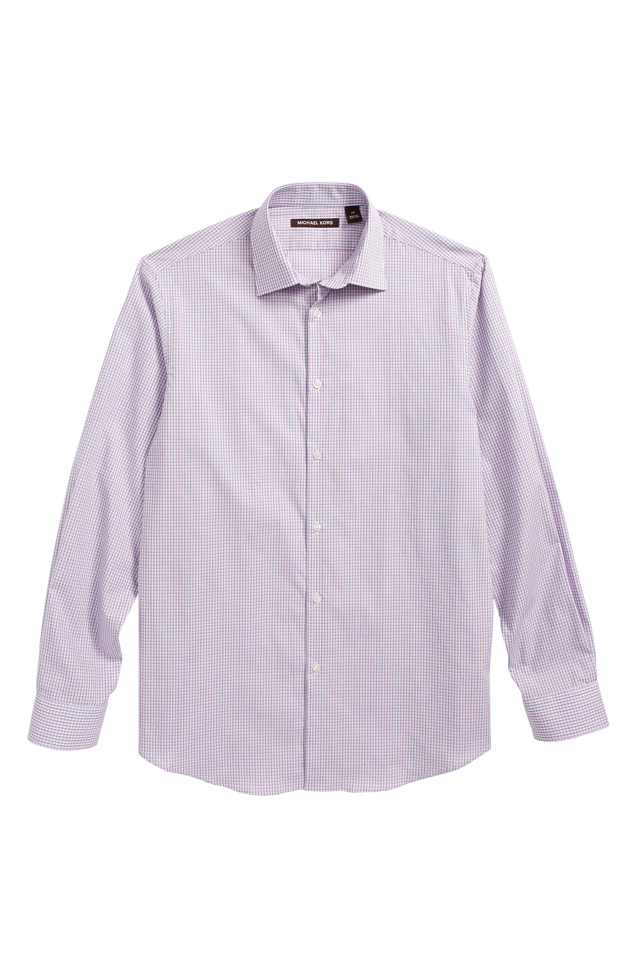 Check Dress Shirt,                         Main,                         color, Red/ Blue Check