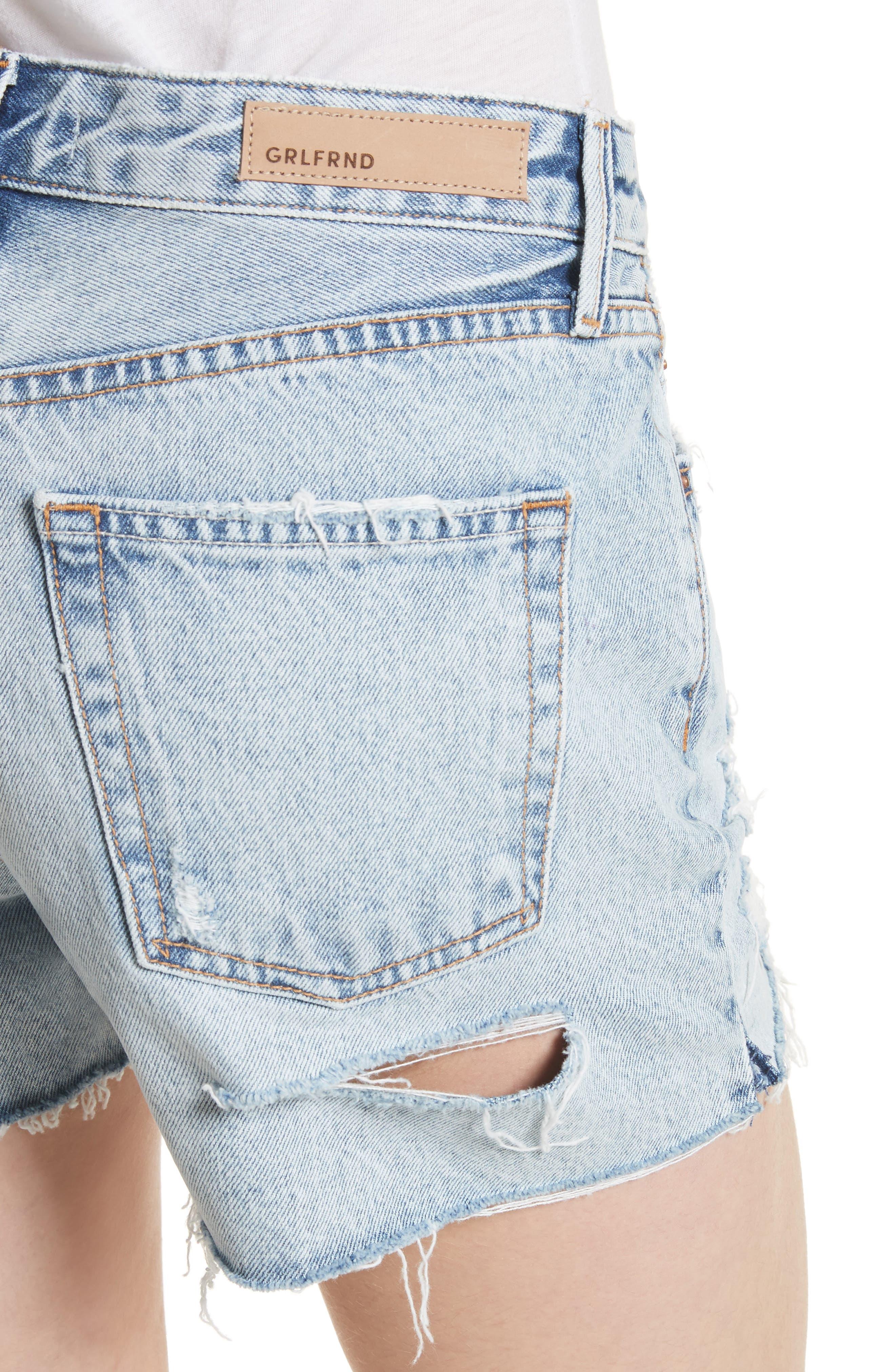 Helena Ripped Denim Shorts,                             Alternate thumbnail 4, color,                             Acetone