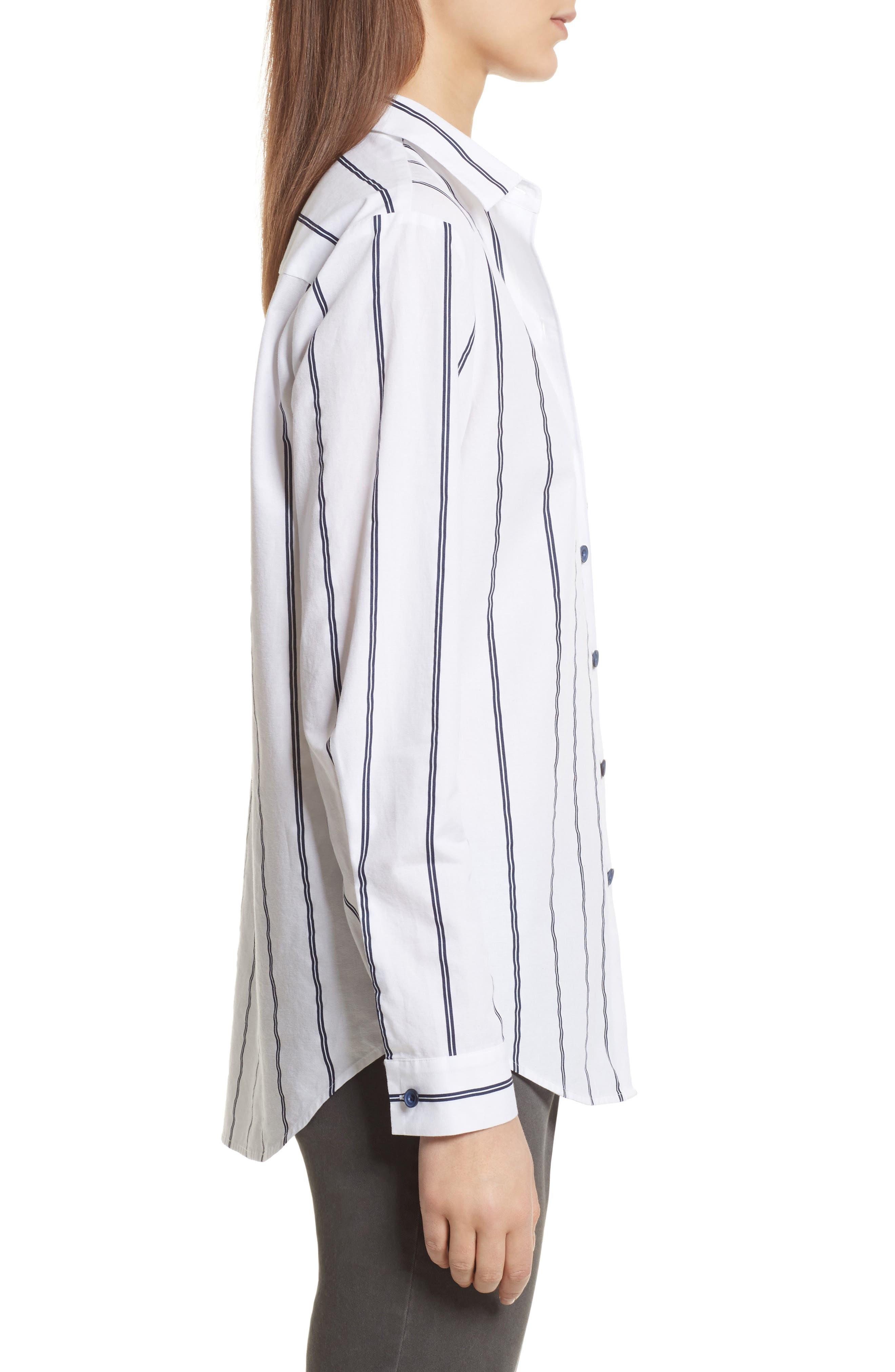 Railroad Stripe Boyfriend Shirt,                             Alternate thumbnail 3, color,                             White/ Midnight Stripe
