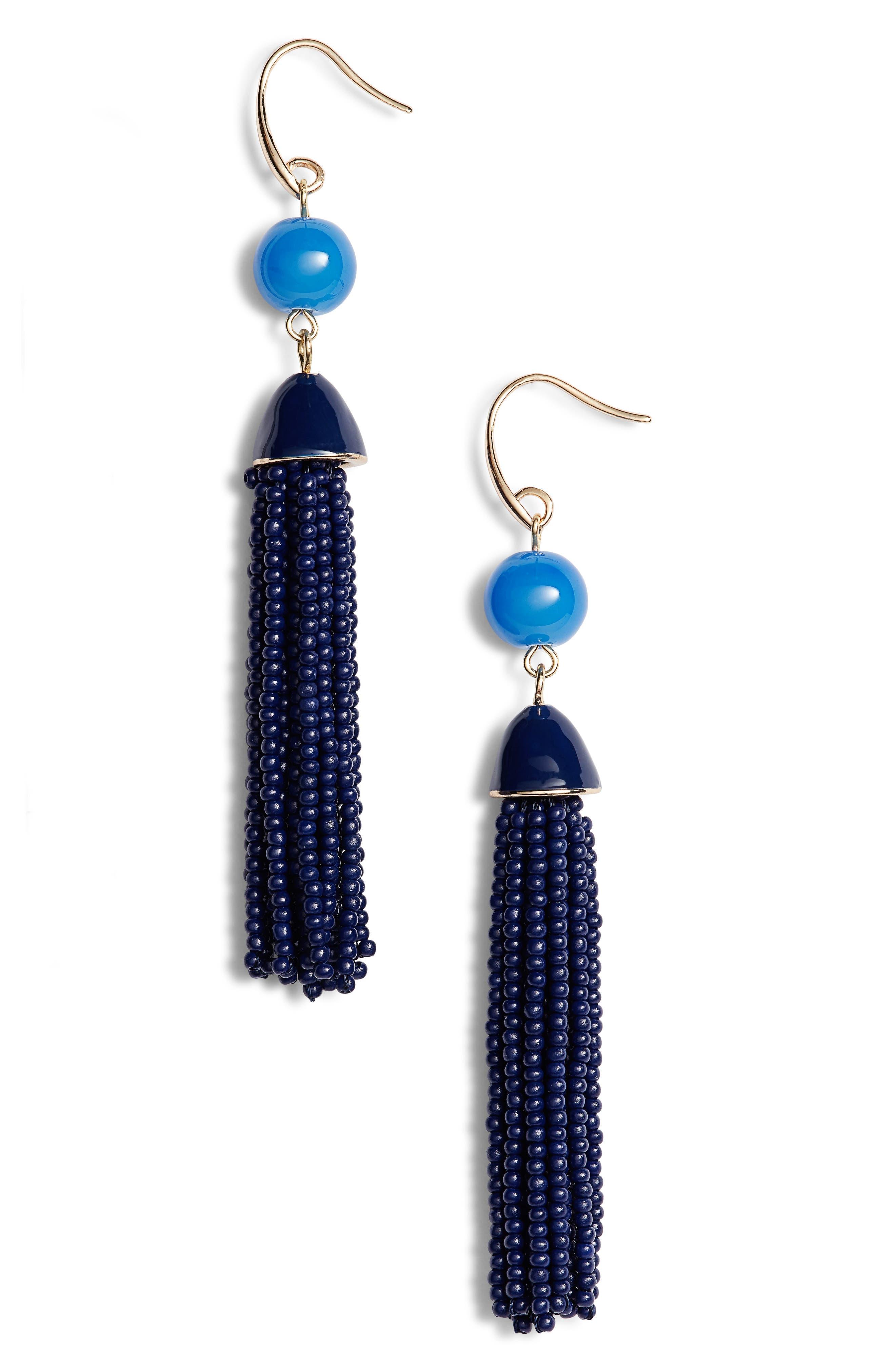 Beaded Tassel Drop Earrings,                         Main,                         color, Navy- Gold
