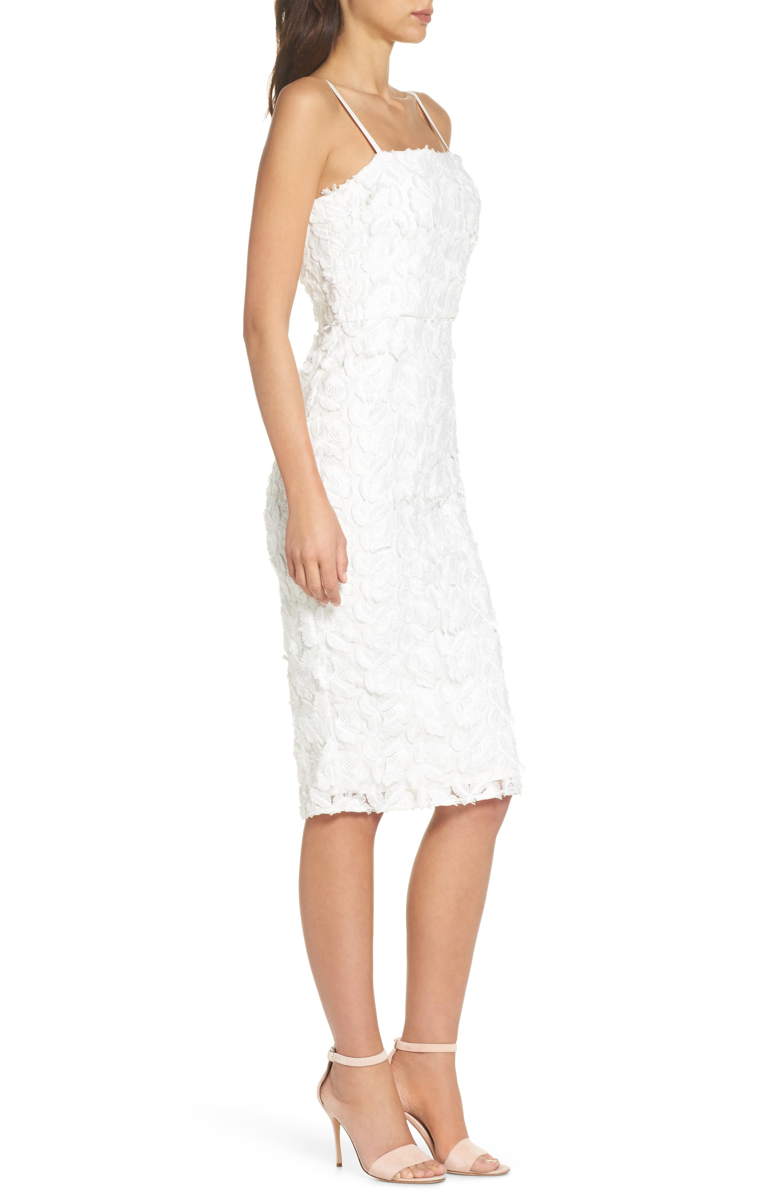Floral Mirage Embroidered Lace Dress,                             Alternate thumbnail 3, color,                             Gardenia