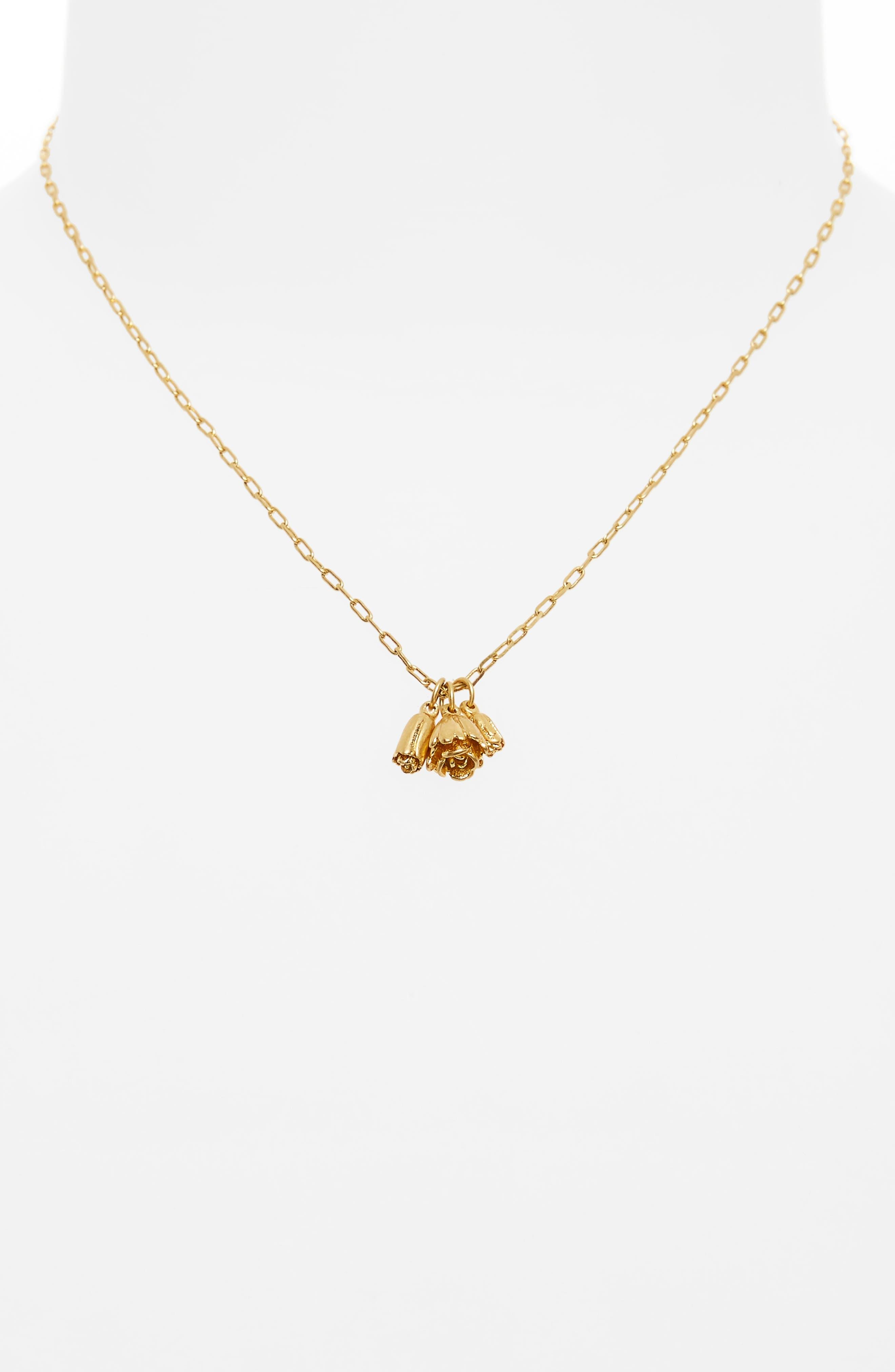 Flower Bud Pendant Necklace,                             Alternate thumbnail 2, color,                             Vintage Gold
