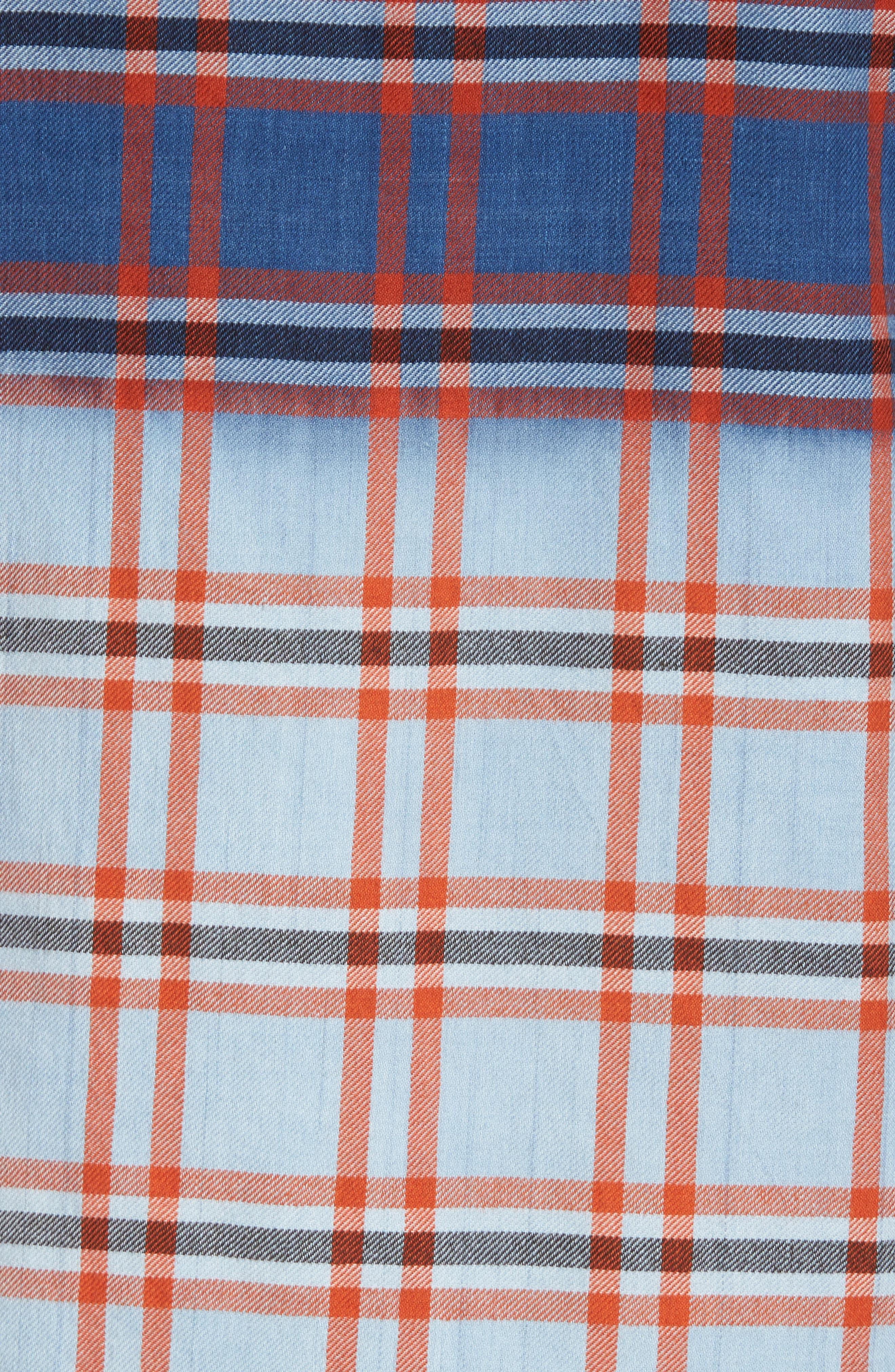 Prismatic Check Woven Shirt,                             Alternate thumbnail 5, color,                             Indigo Bleach