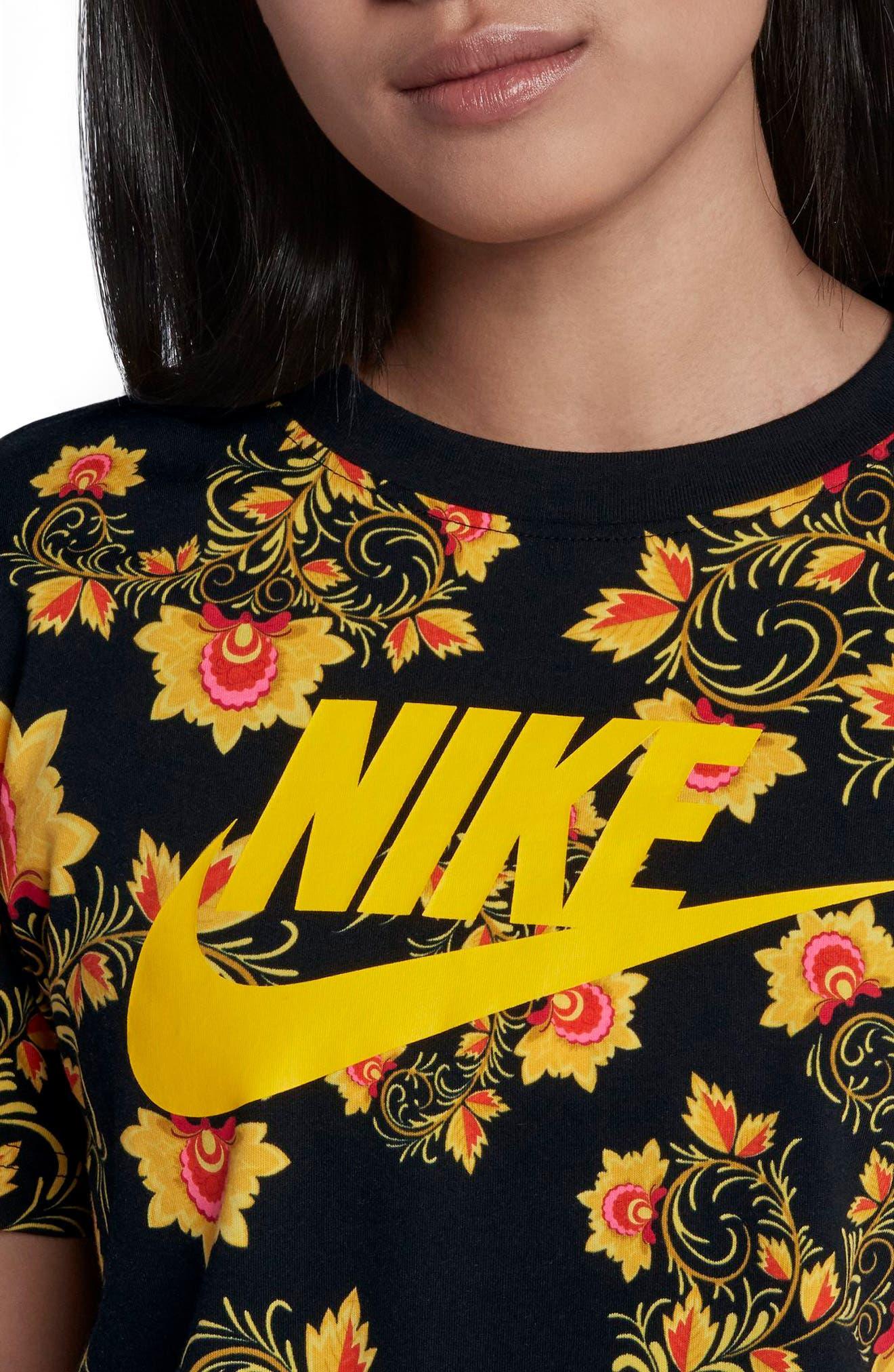 Sportswear Russian Floral Print Crop Tee,                             Alternate thumbnail 3, color,                             Black