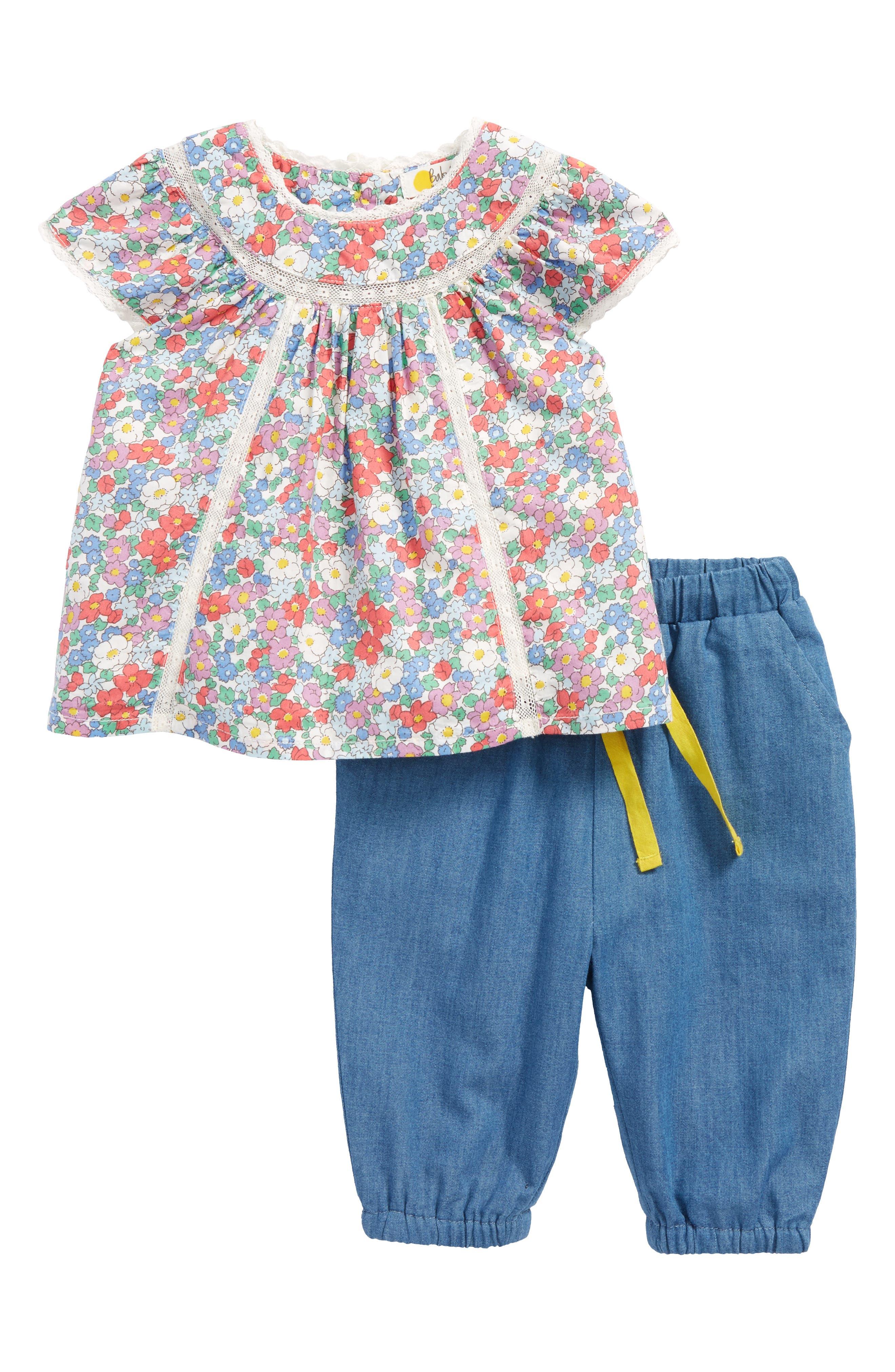 Pretty Woven Tunic & Pants Set,                             Main thumbnail 1, color,                             Vintage Floral