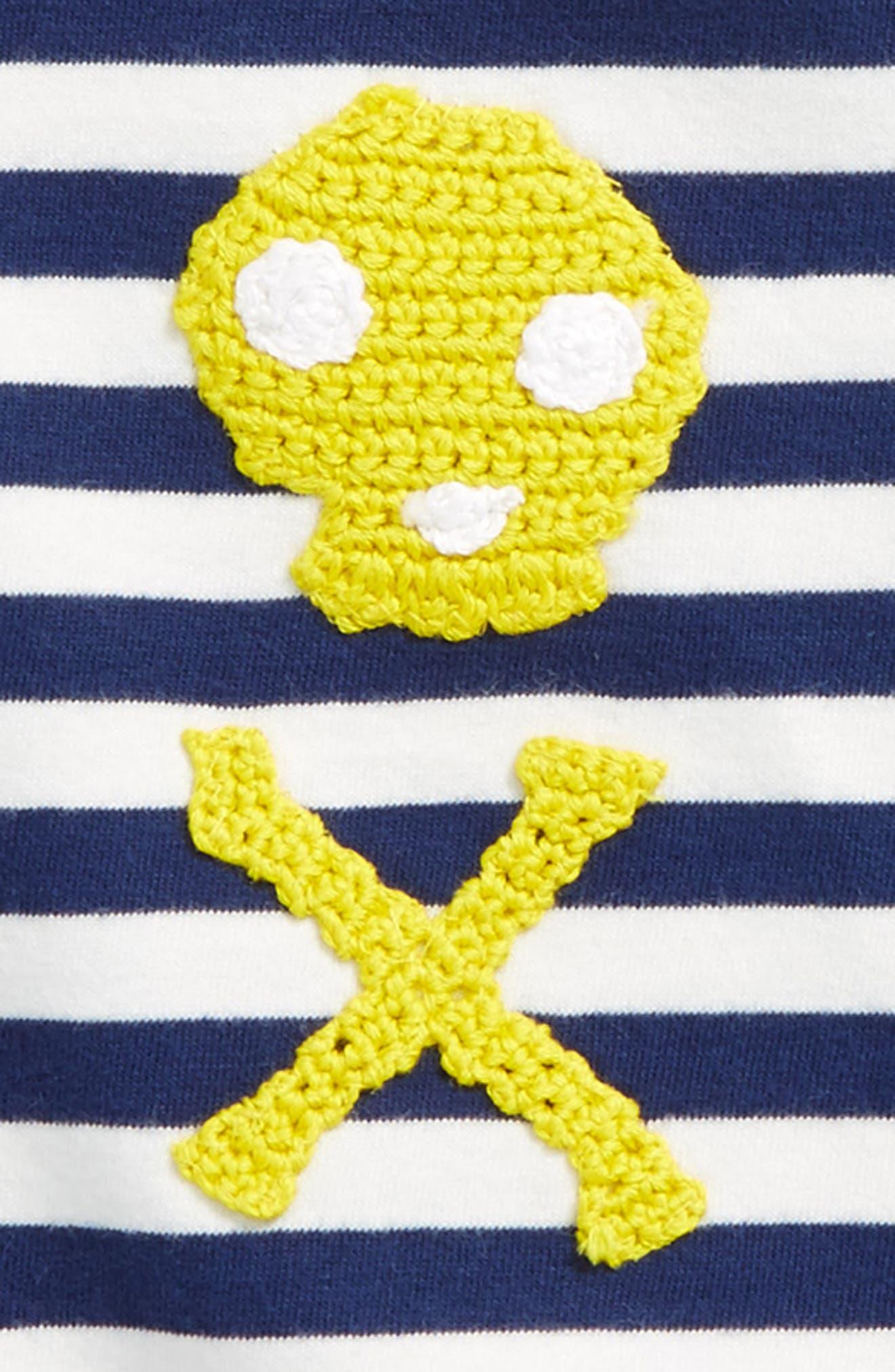 Stripy Crochet T-Shirt,                             Alternate thumbnail 2, color,                             Ecru/ Beacon Blue