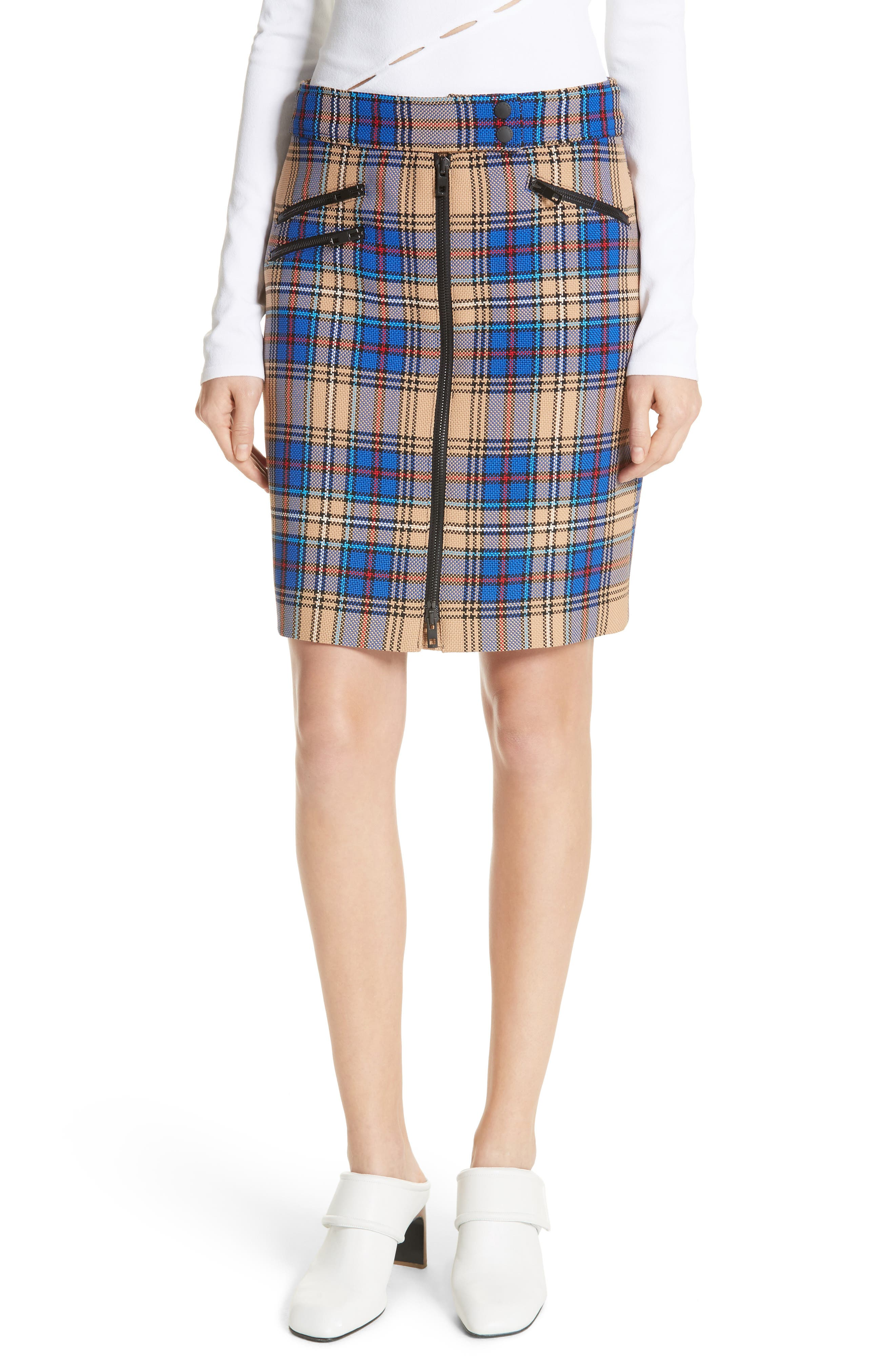 rag & bone Griffin Zip Detail Plaid Skirt