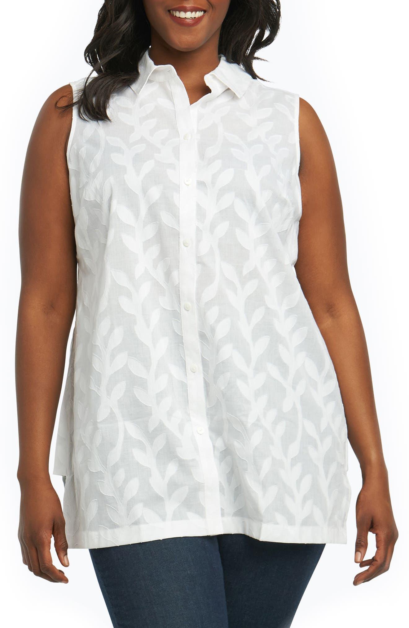 Ariah Palm Jacquard Sleeveless Shirt,                             Main thumbnail 1, color,                             White