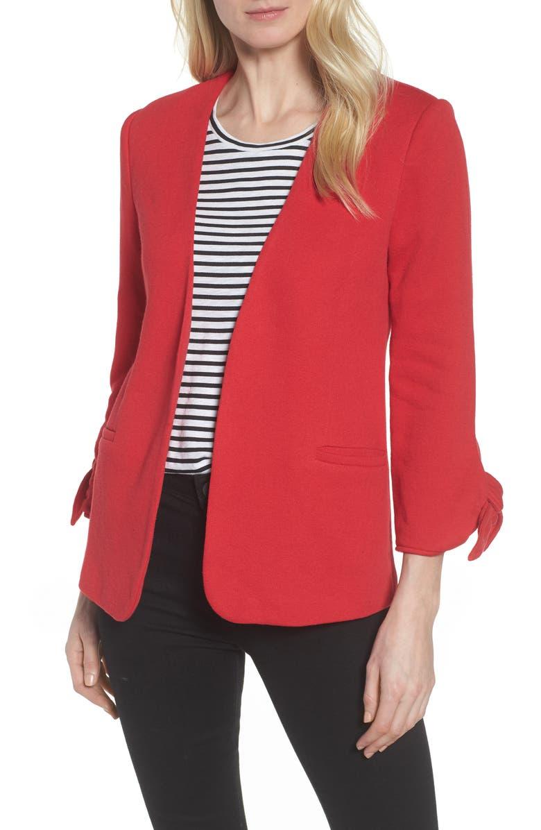 Olivia Moon Tie Sleeve Knit Blazer (Regular & Petite) | Nordstrom