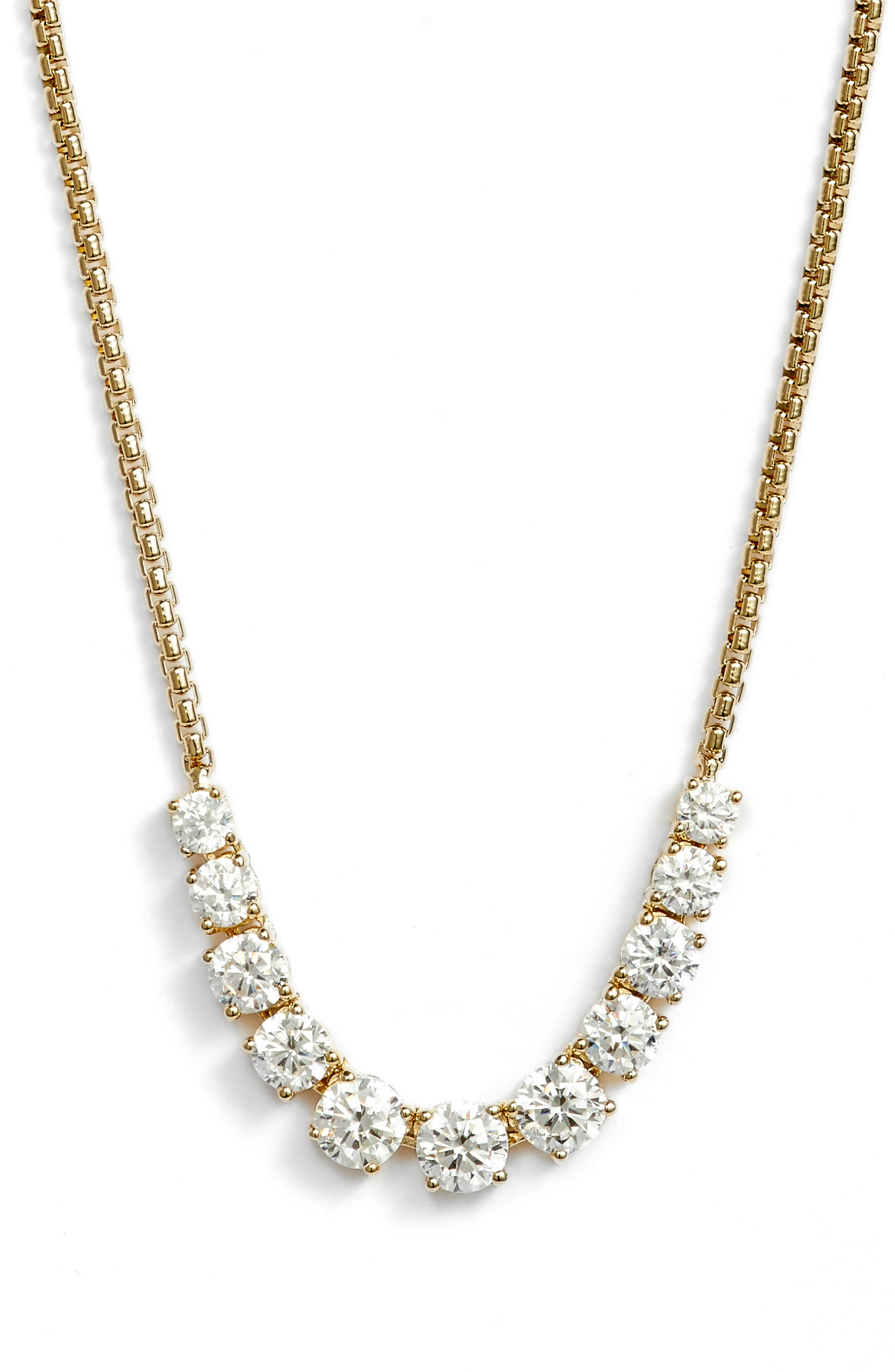 Crystal Necklace,                         Main,                         color, Gold/ Clear