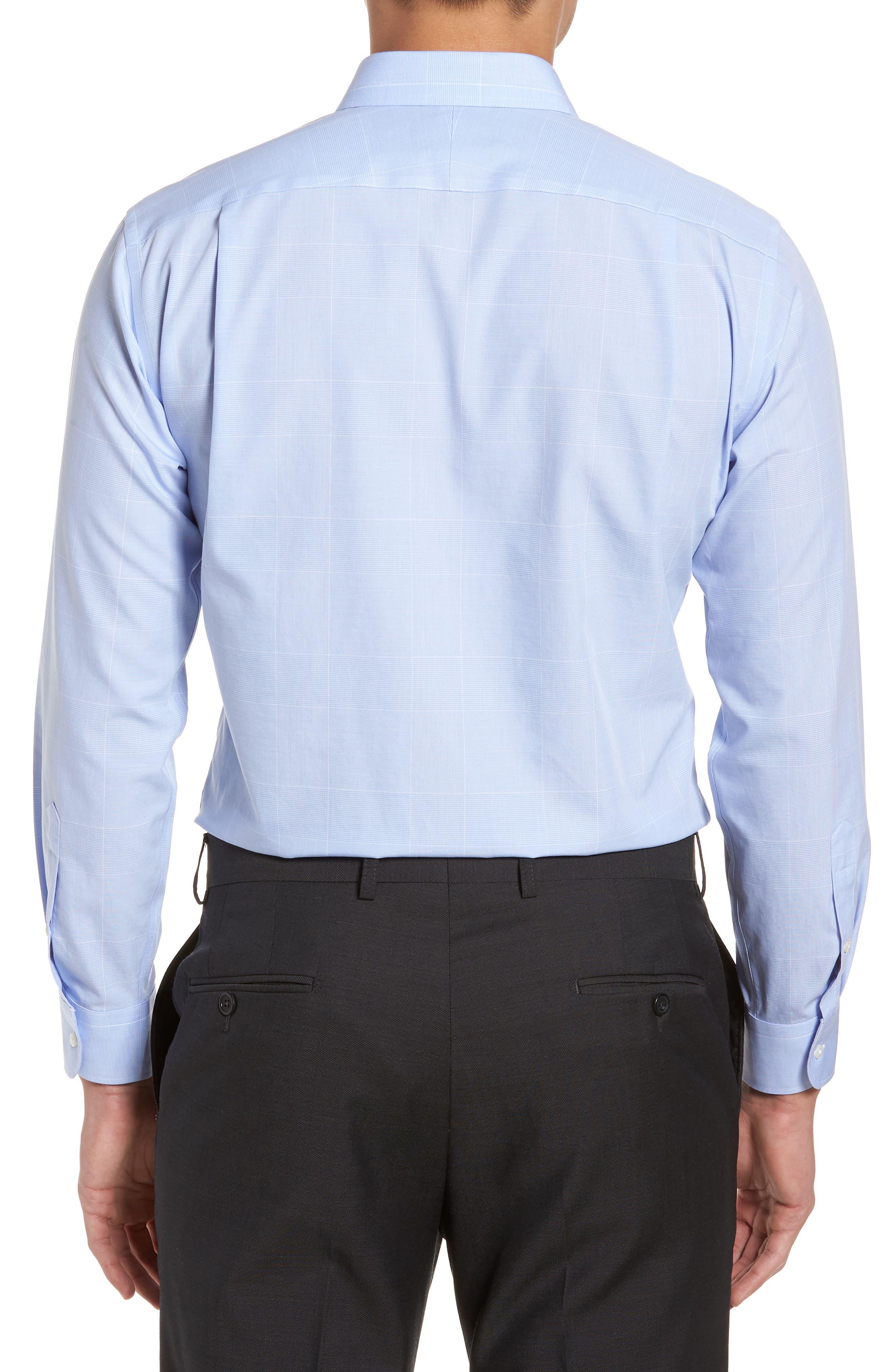 Smartcare<sup>™</sup> Trim Fit Plaid Dress Shirt,                             Alternate thumbnail 3, color,                             Blue Hydrangea