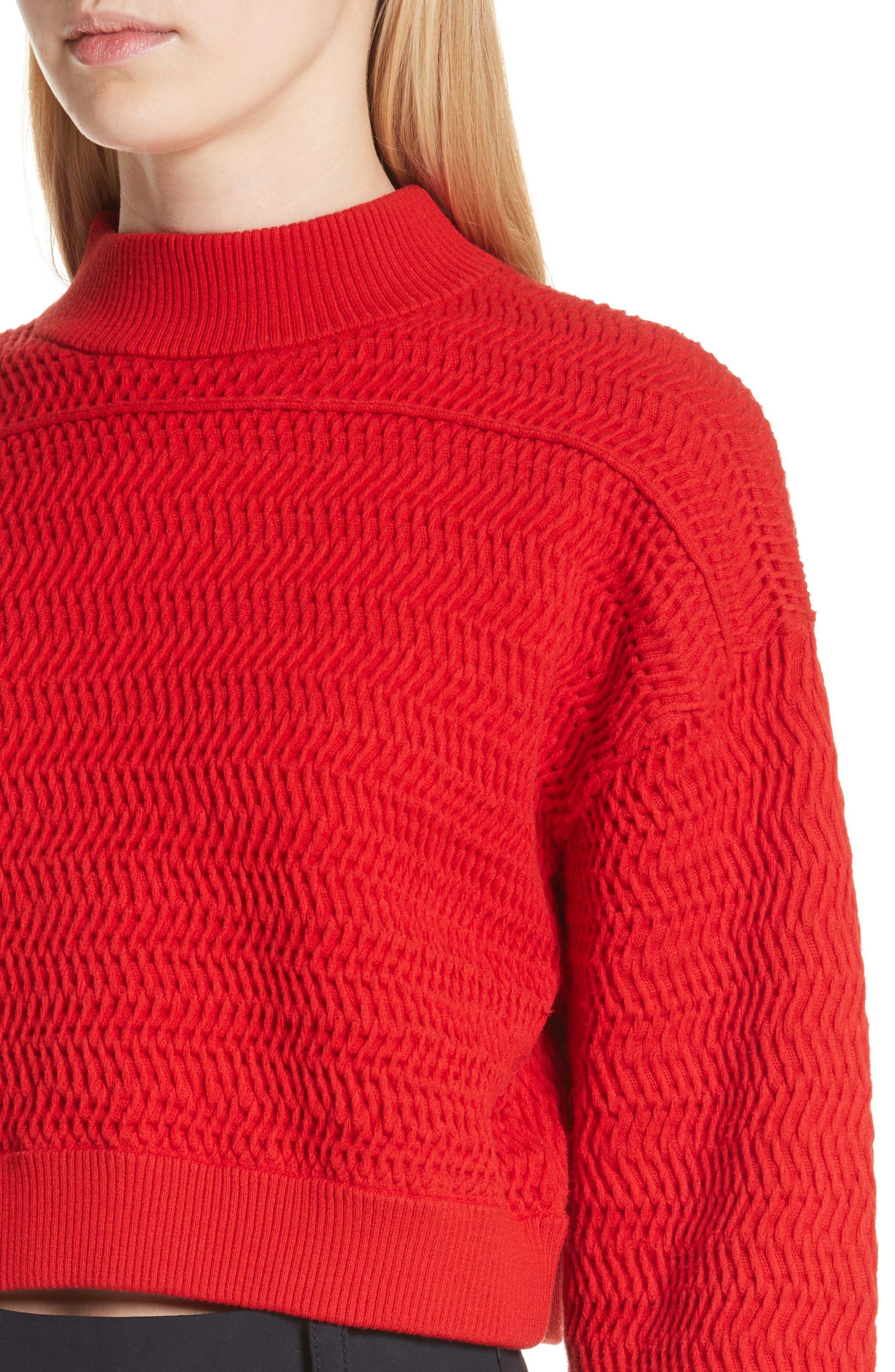 Faux Plait Silk Blend Crop Sweater,                             Alternate thumbnail 4, color,                             Poppy