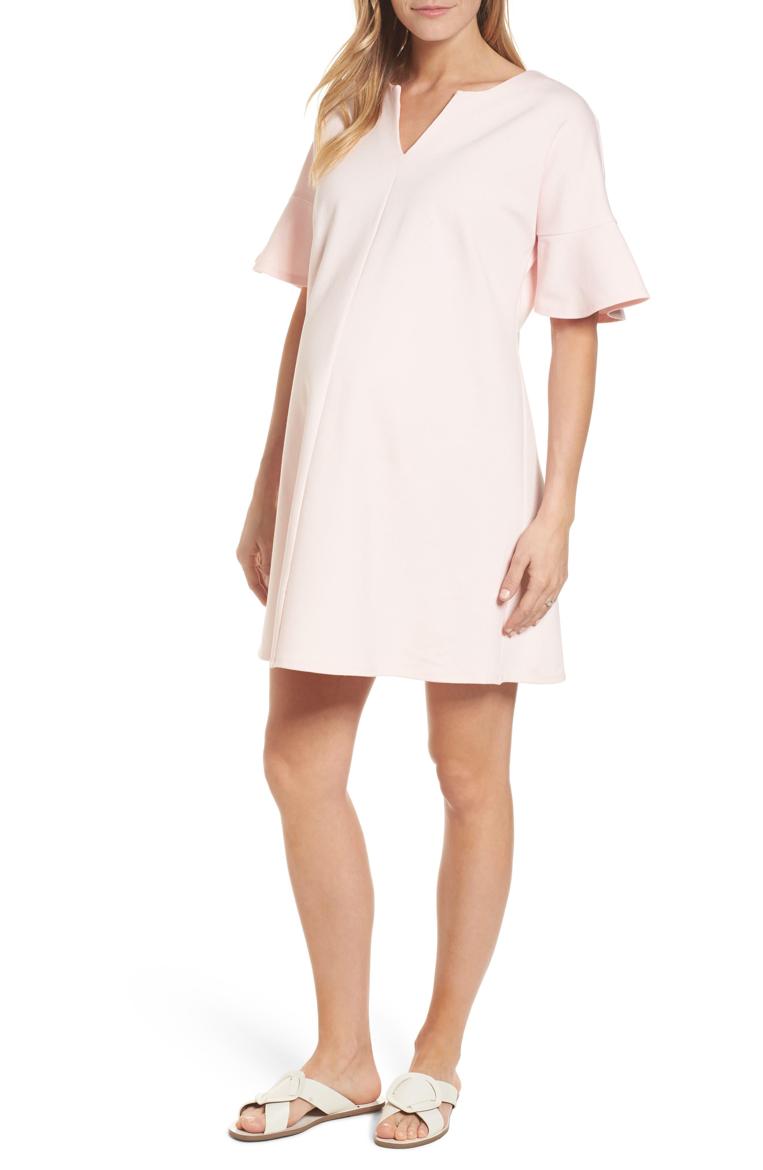 Reese Ponte Maternity Dress,                             Main thumbnail 1, color,                             Soft Blush