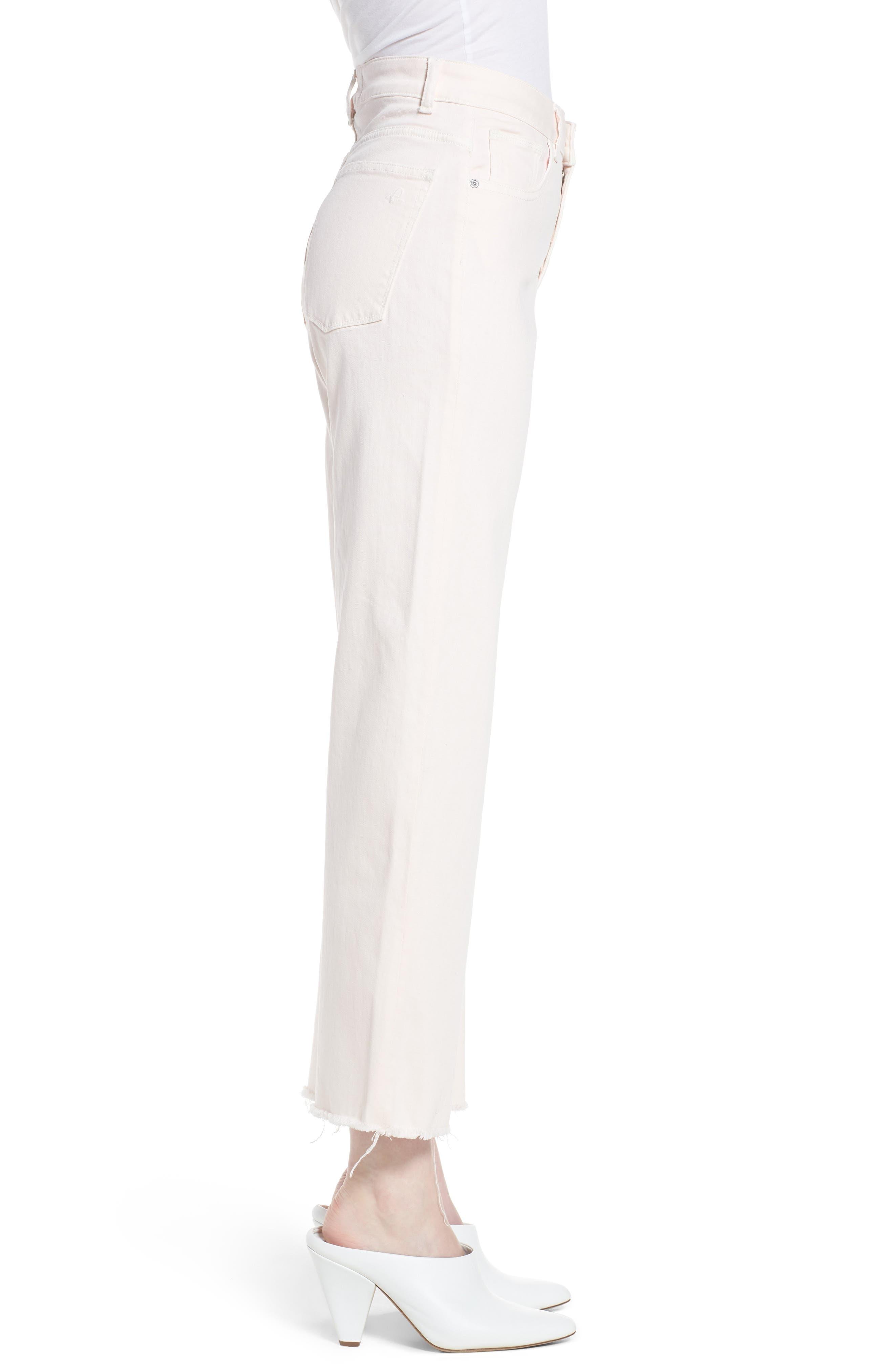 Hepburn Ankle Wide Leg Jeans,                             Alternate thumbnail 3, color,                             Blush Pink