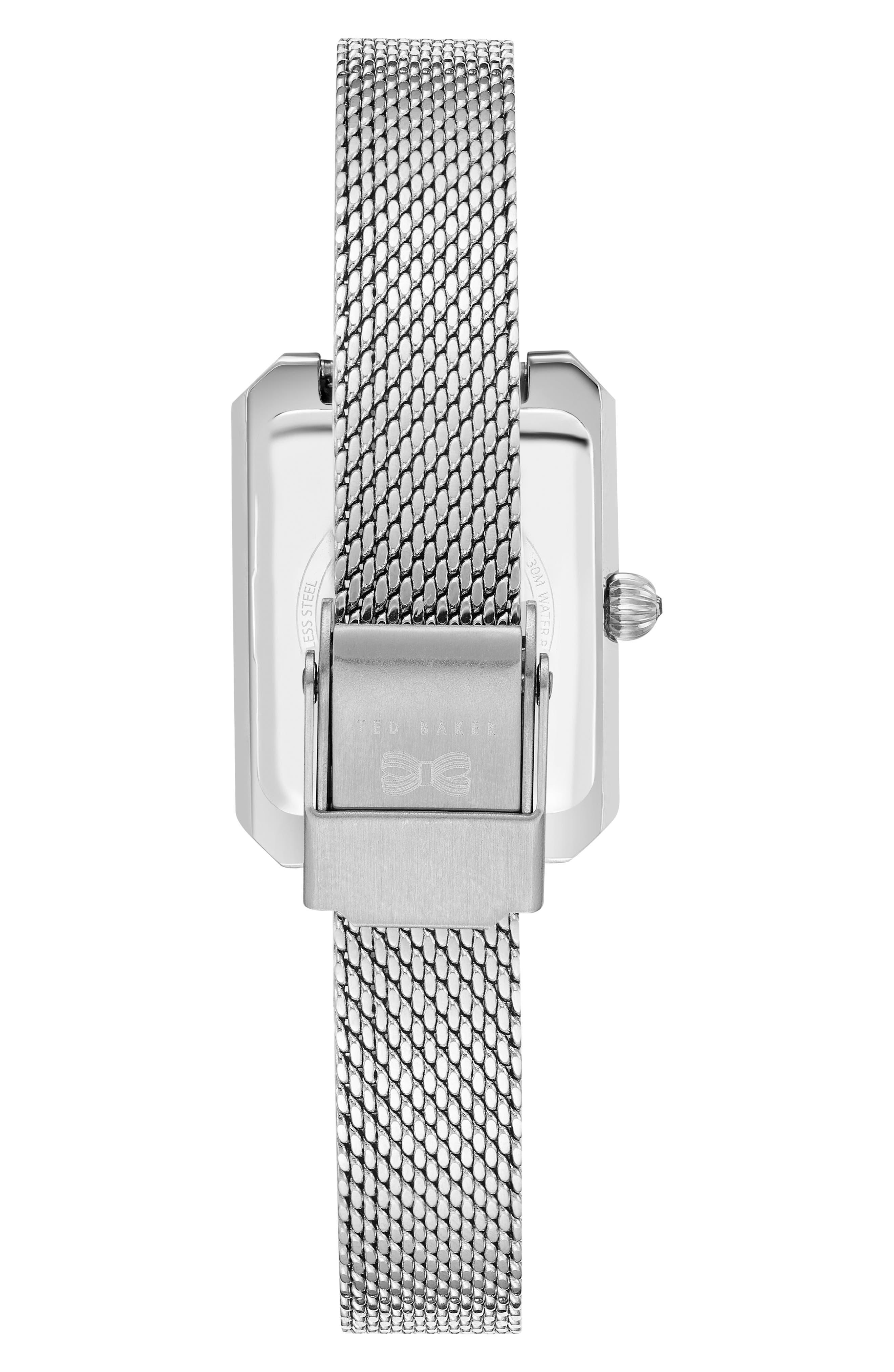 Cara Mesh Strap Watch, 22mm,                             Alternate thumbnail 2, color,                             Silver/ Black/ Silver