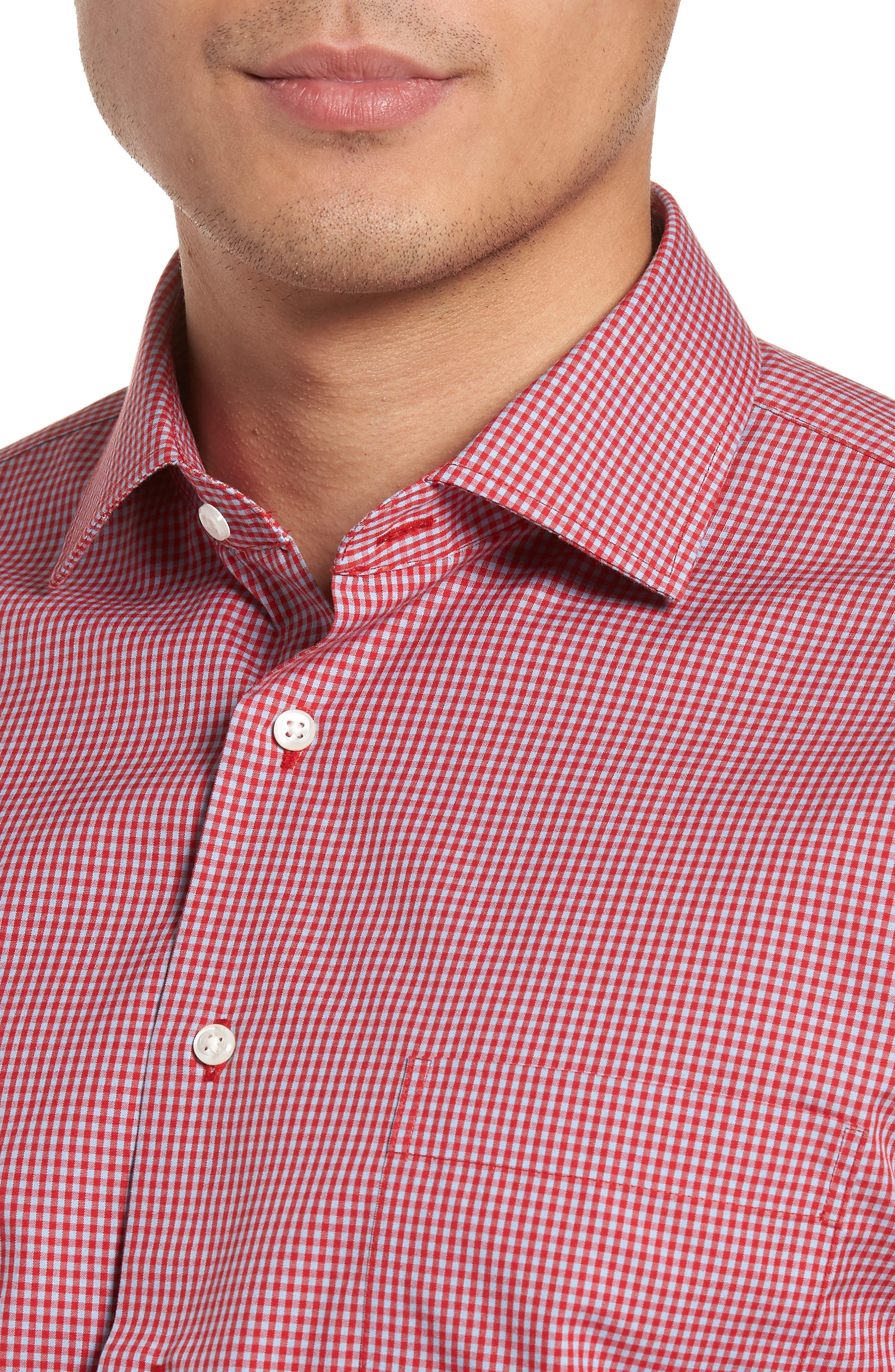 Smartcare<sup>™</sup> Trim Fit Check Dress Shirt,                             Alternate thumbnail 2, color,                             Red Barbados