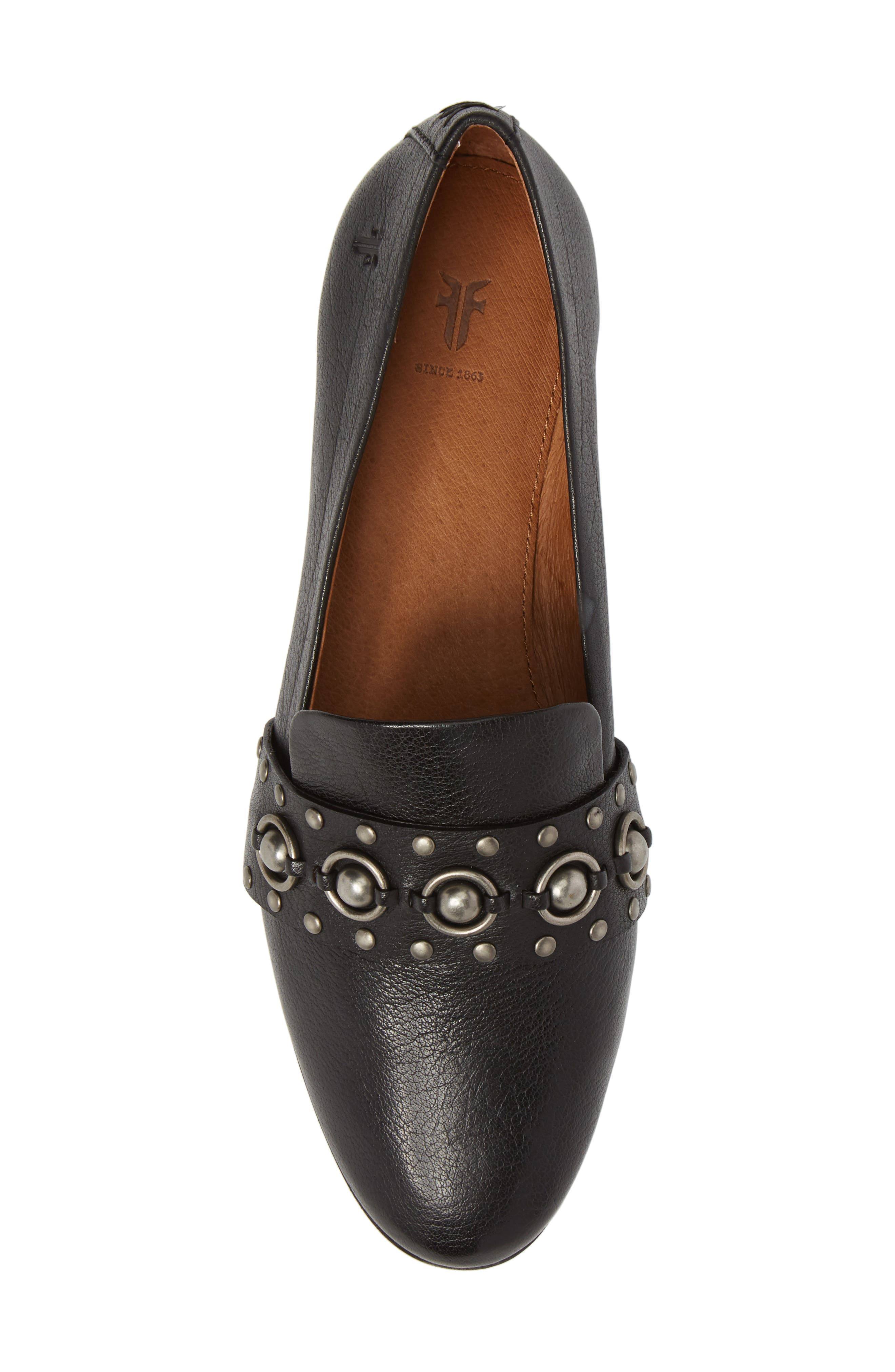 Terri Stud Loafer,                             Alternate thumbnail 5, color,                             Black Leather